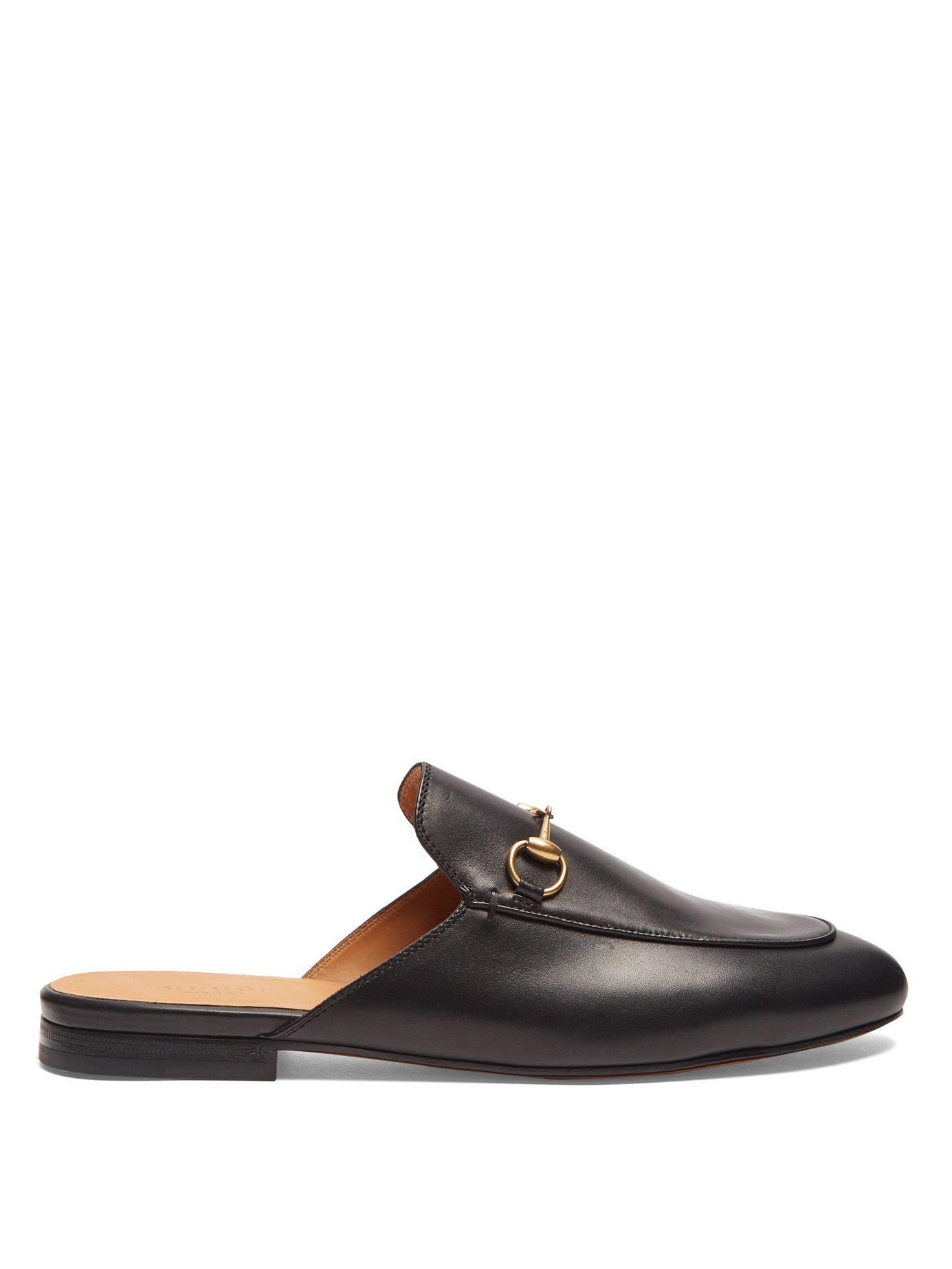 11ab8e1bd15 Lyst - Gucci Princetown Leather Backless Loafers in Black - Save 14%
