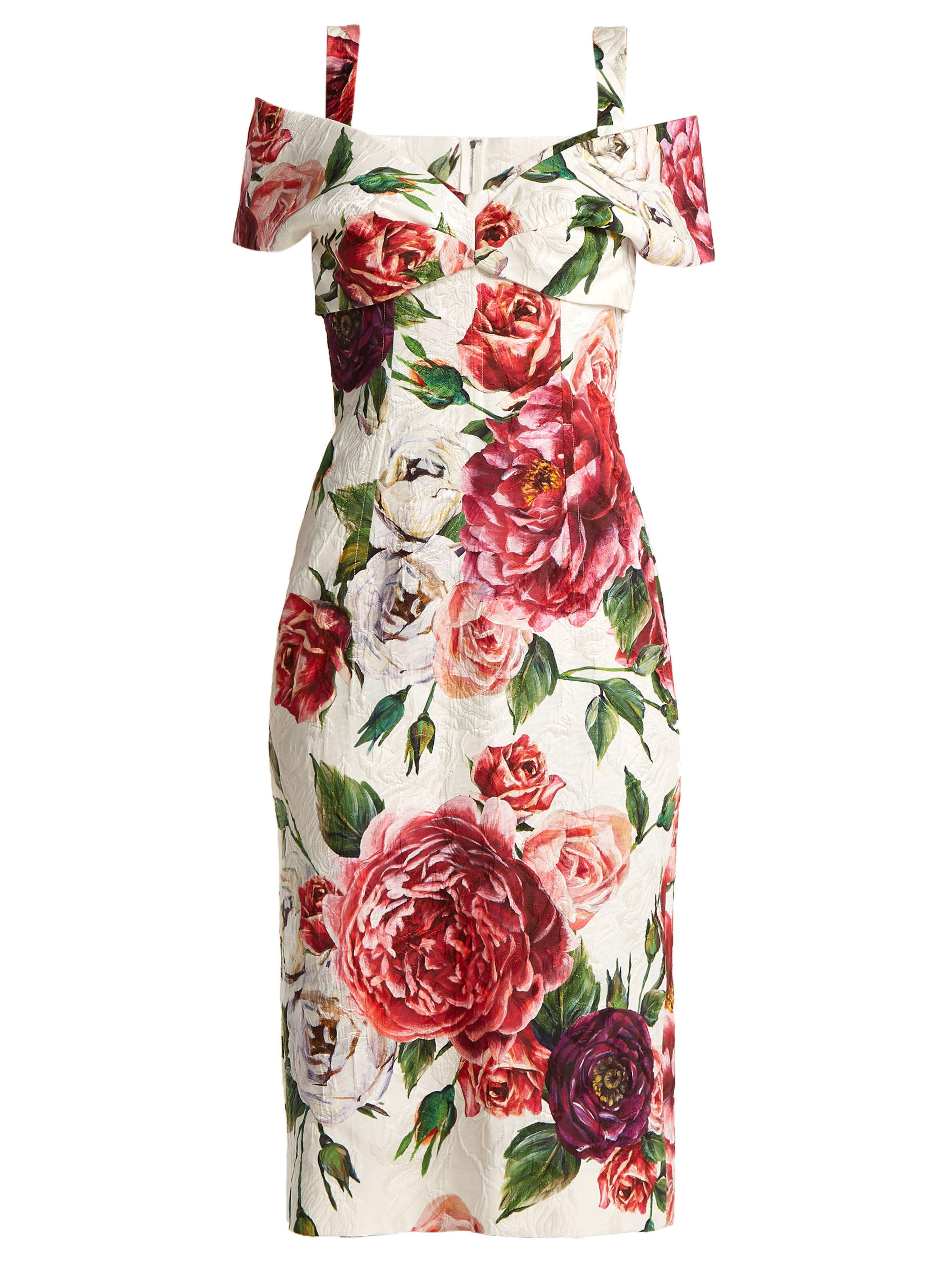 e3d552d702f Dolce & Gabbana Brocade Peony And Rose Print Dress - Lyst