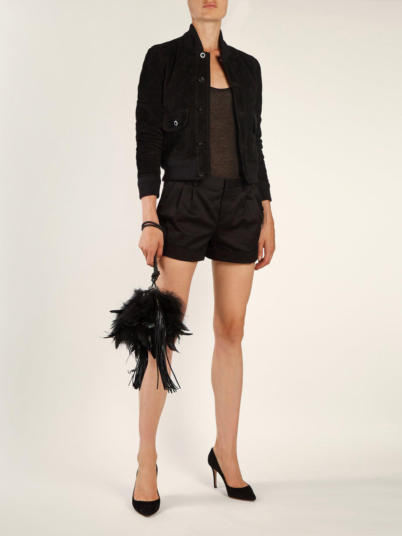 9d3c37390e62 Lyst - Saint Laurent Mansour Feather Embellished Clutch in Black