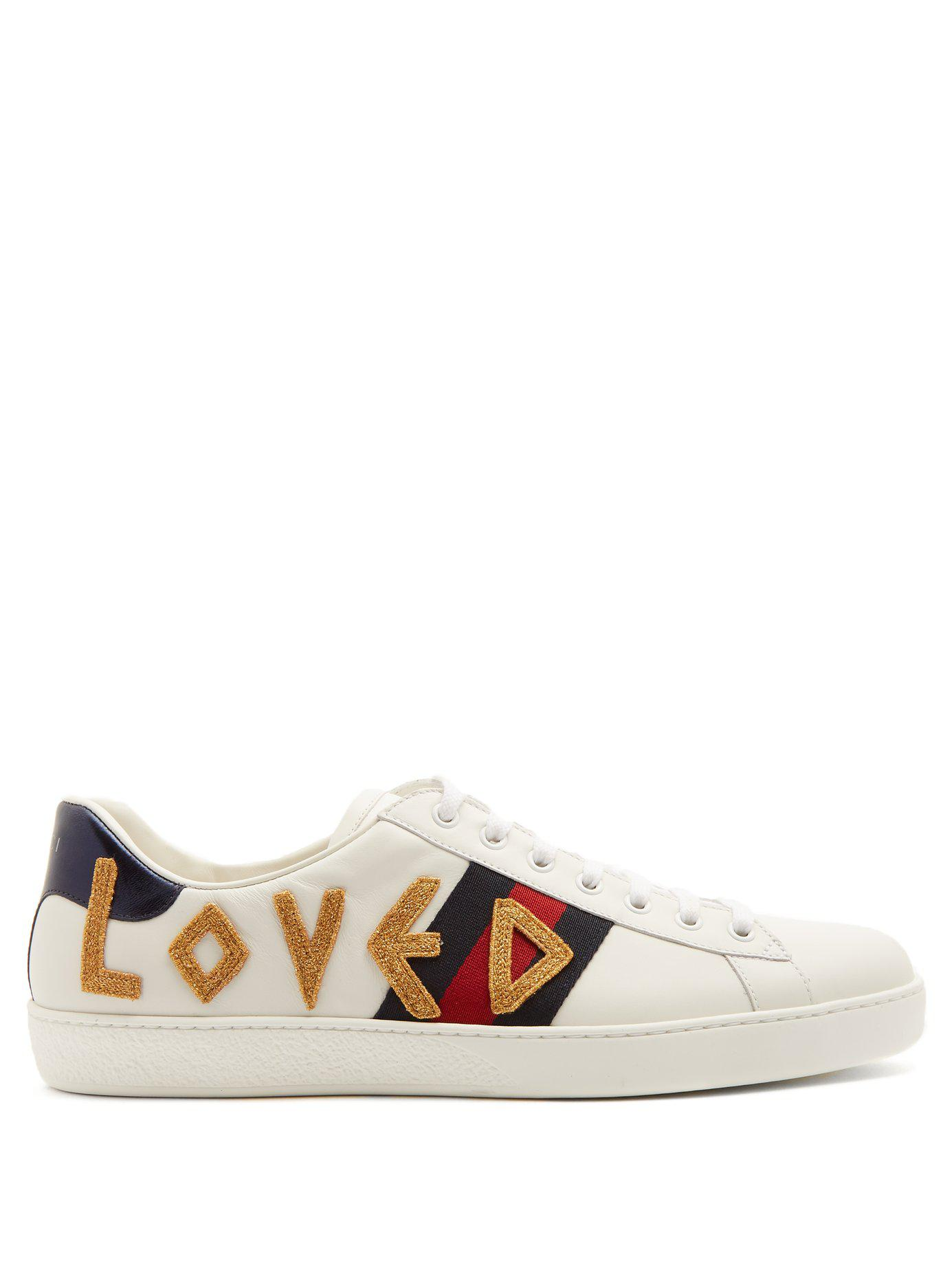 ebc5223825d Lyst - Gucci New Ace Embroidered Leather Trainers in White for Men