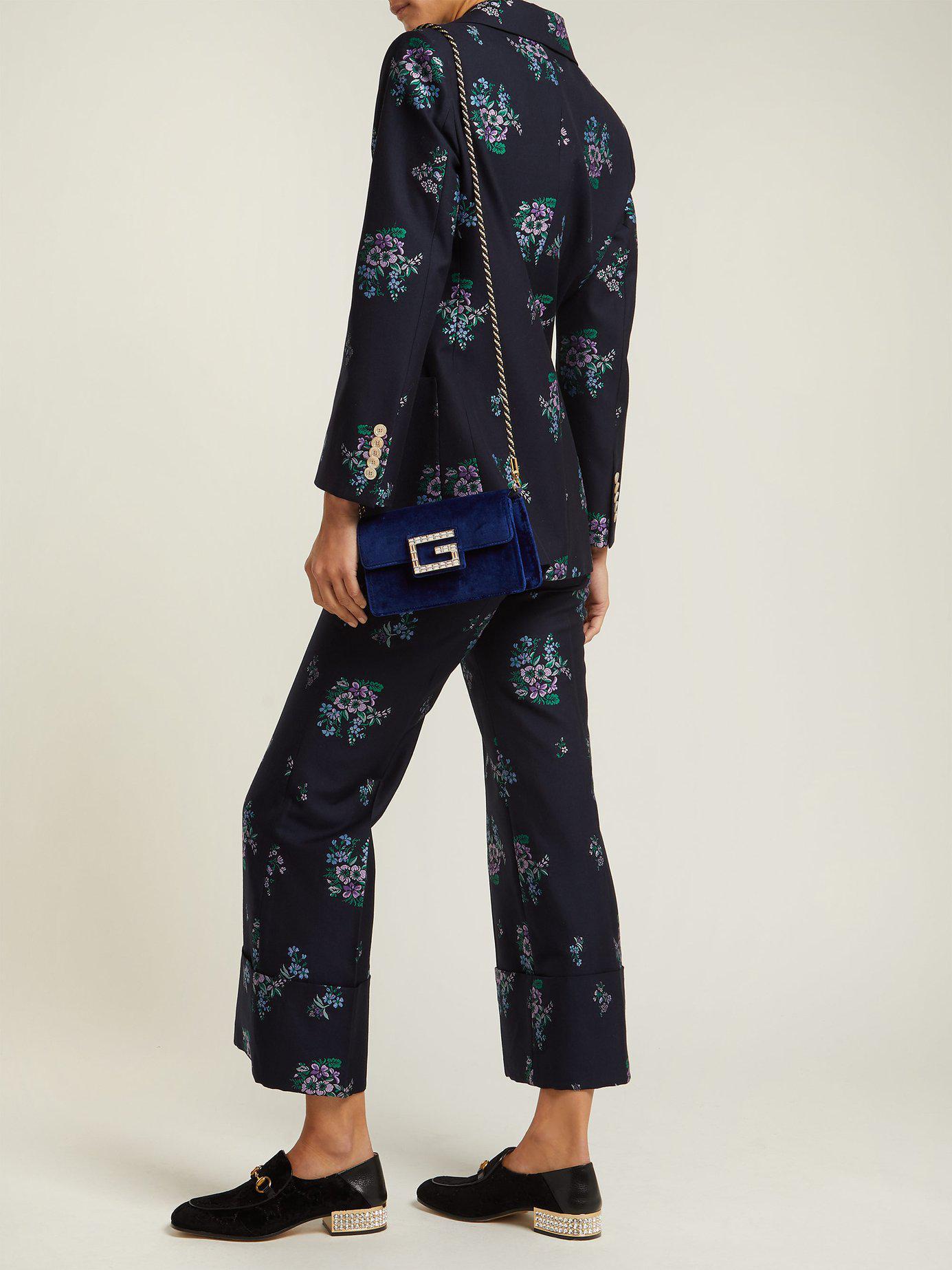 e11743bbd8ab Lyst - Gucci Broadway Crystal G Velvet Cross Body Bag in Blue