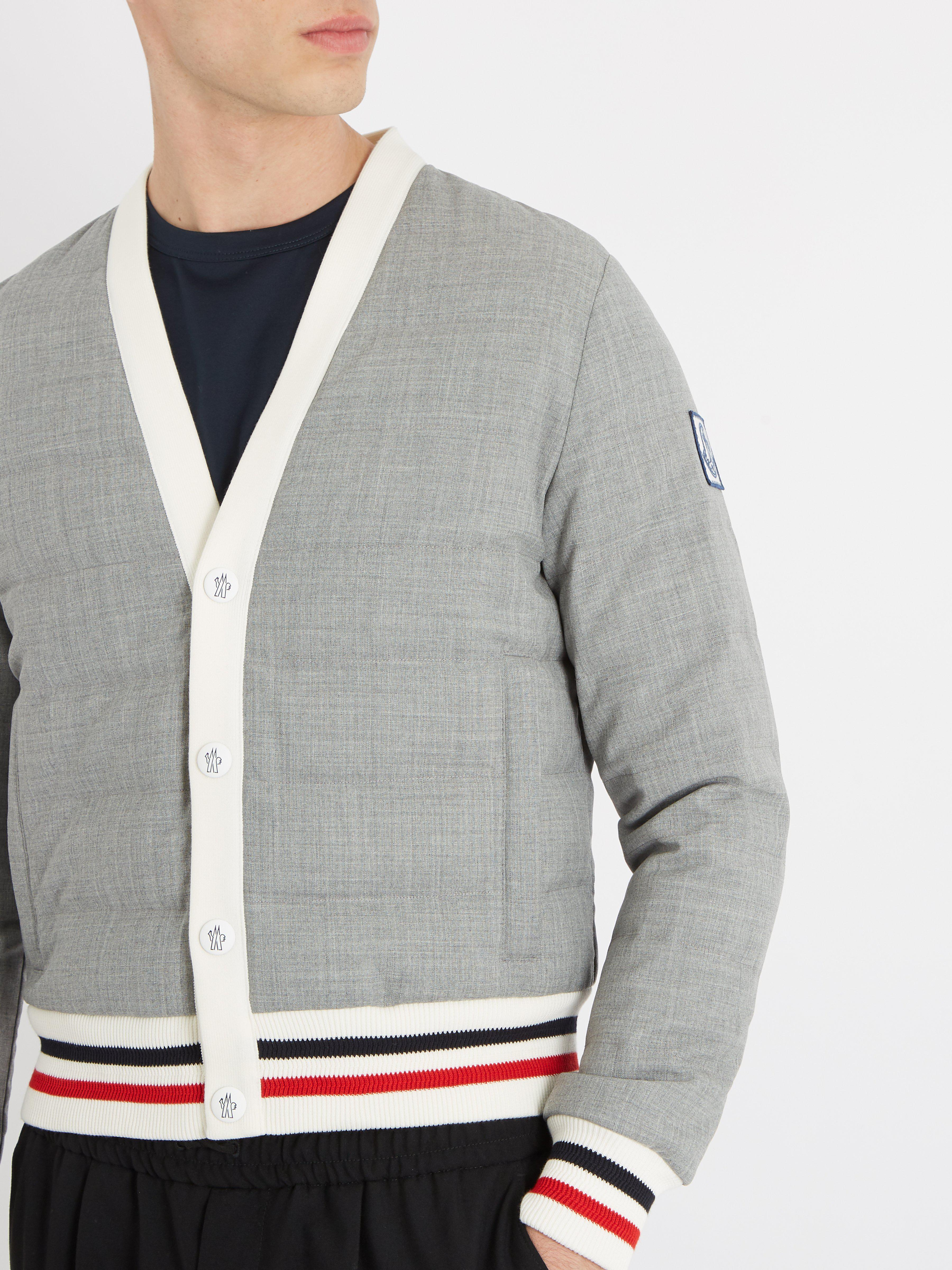 13d35304b9ac Moncler Gamme Bleu Striped Trim Quilted Down Bomber Jacket in Gray ...