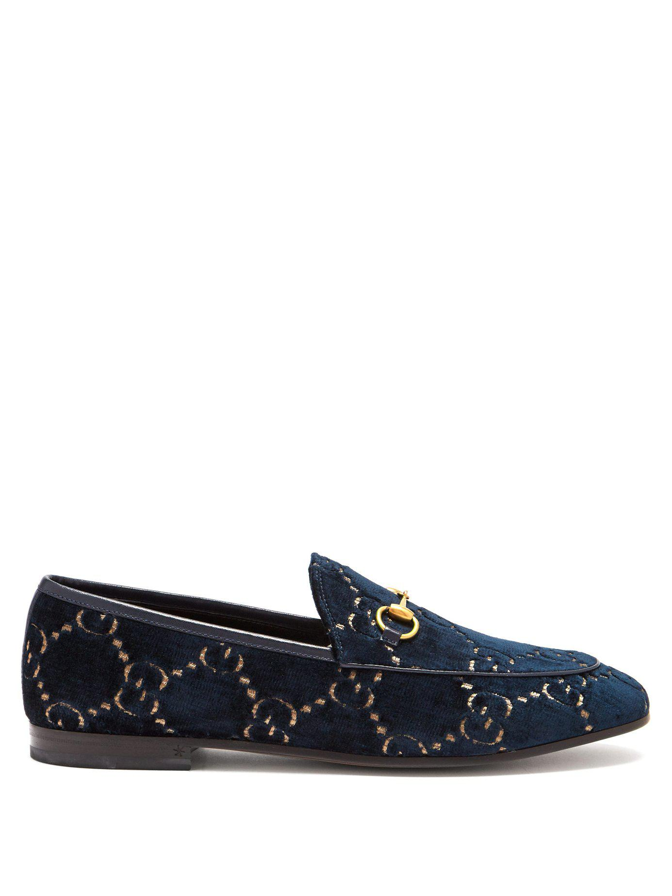 62dd8fcda64 Lyst - Gucci Jordaan GG Velvet Loafer in Blue