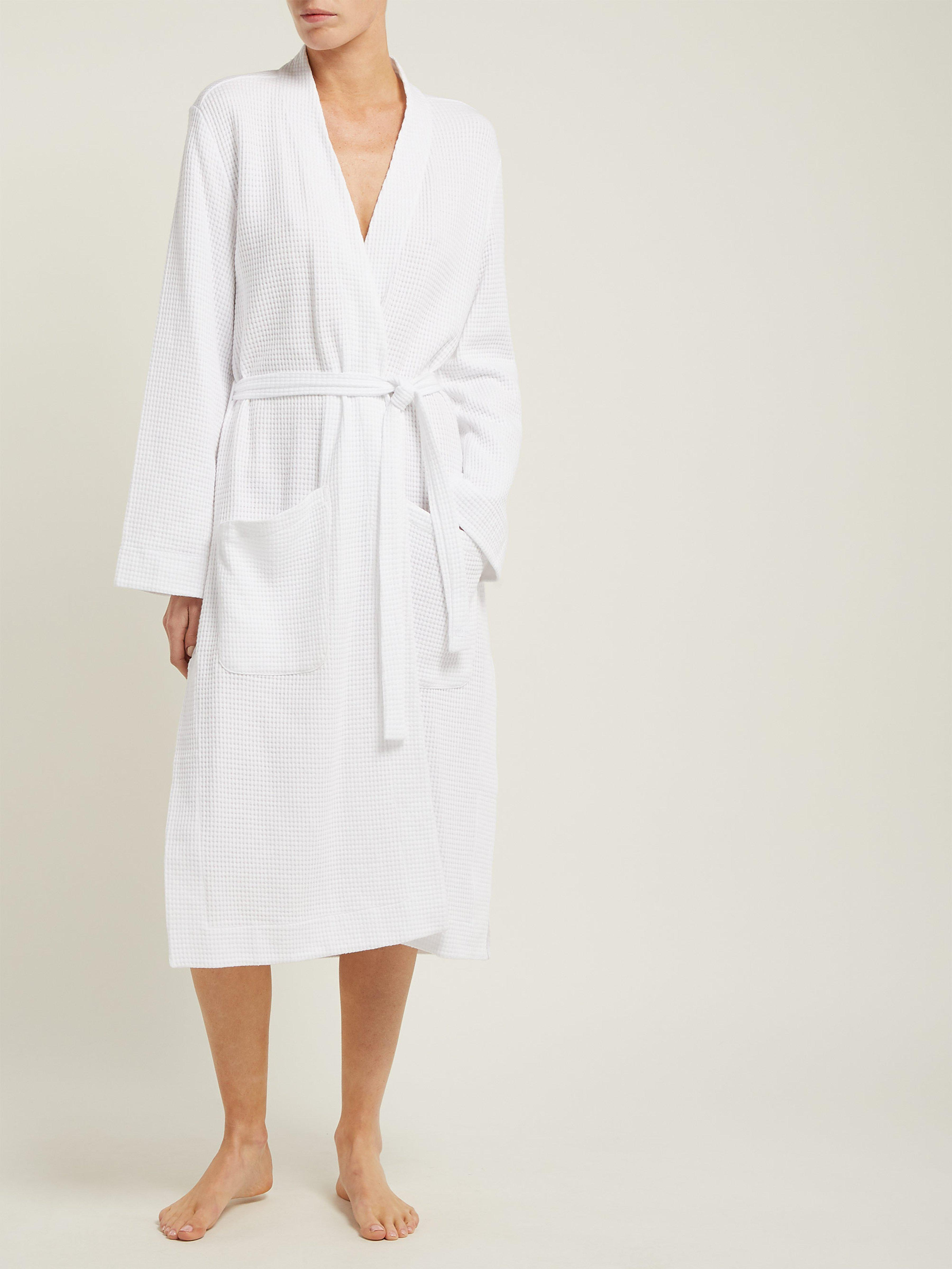 f3805c60c1 Skin Callahan Waffle Weave Cotton Robe in White - Lyst
