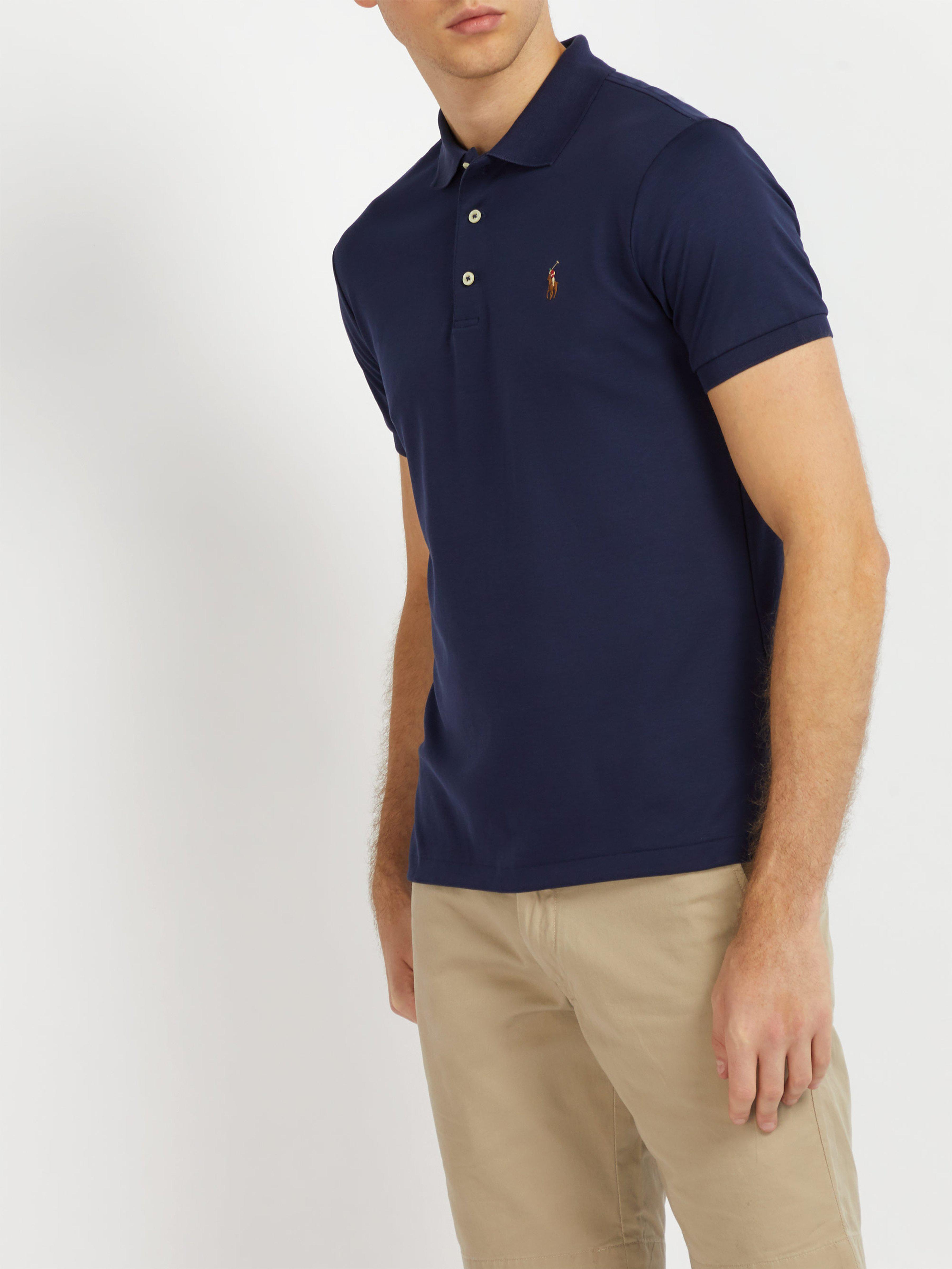 864fcba1 Polo Ralph Lauren Slim Fit Cotton Polo Shirt in Blue for Men - Lyst