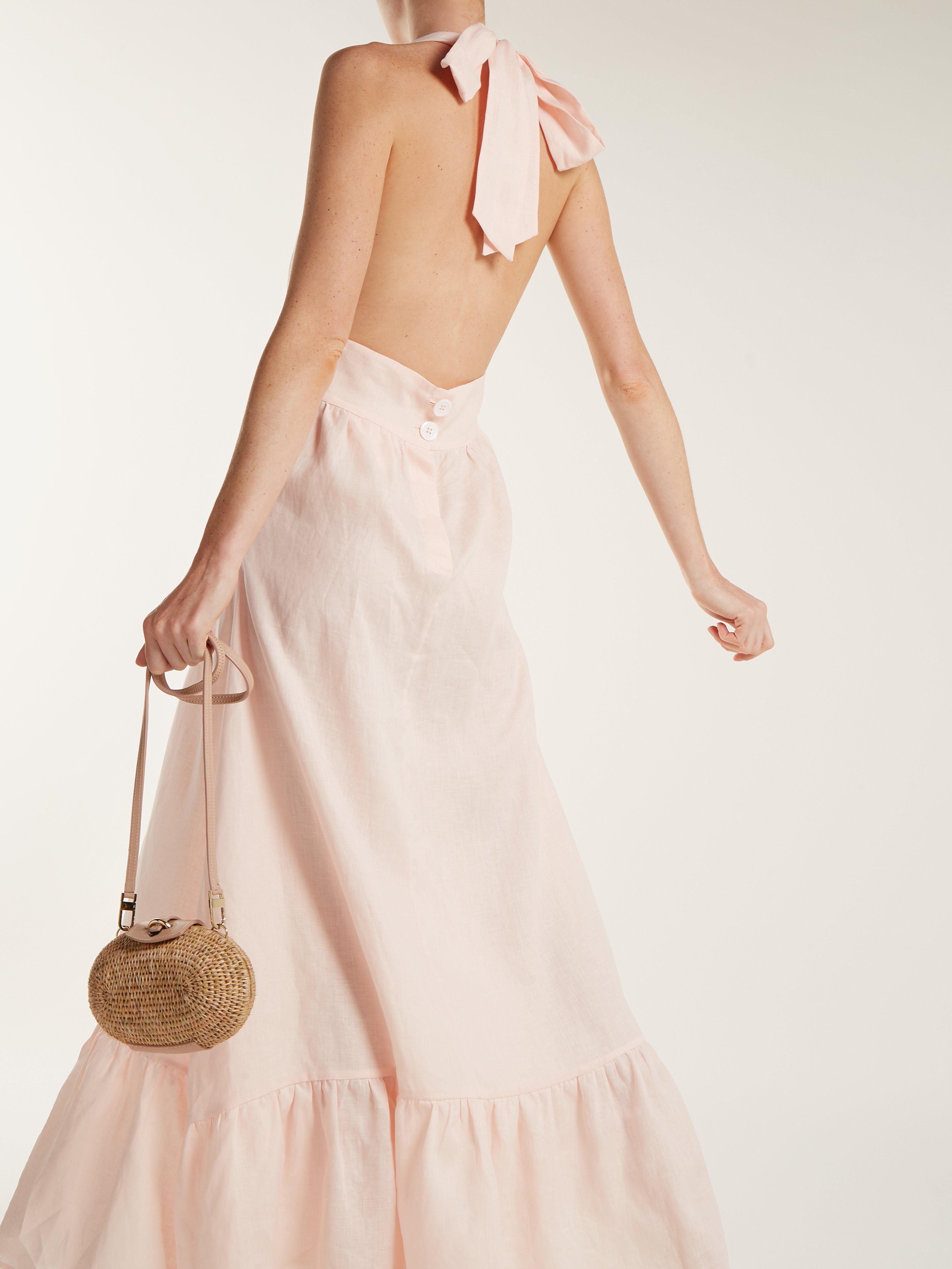 6b57aa314a Loup Charmant Farrah Halterneck Linen Dress in Pink - Lyst