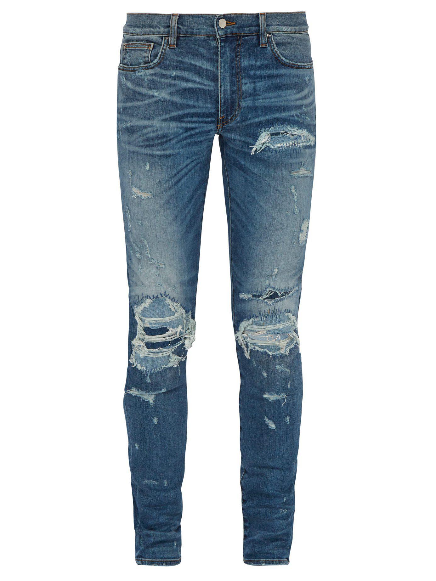 04ed7129060 Amiri - Blue Extreme Distress Slim Leg Jeans for Men - Lyst. View fullscreen