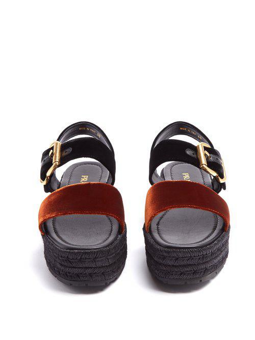 0887c5e2cdc Lyst - Prada Bi-colour Double-strap Velvet Flatform Sandals in Black