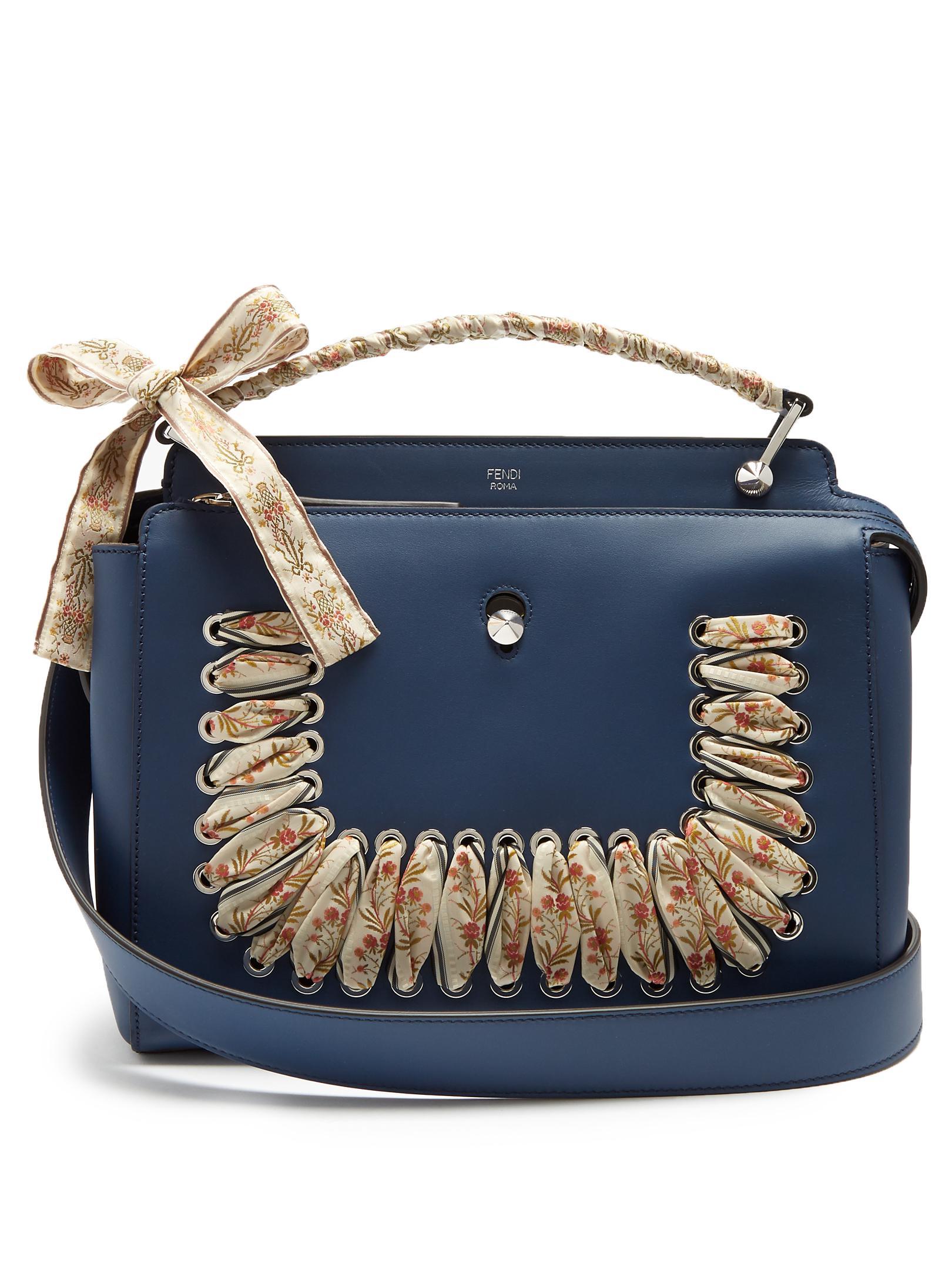 ... usa lyst fendi dotcom ribbon whipstitch leather bag in blue 13fa1 8b01f  ... 31d3edc547b5c