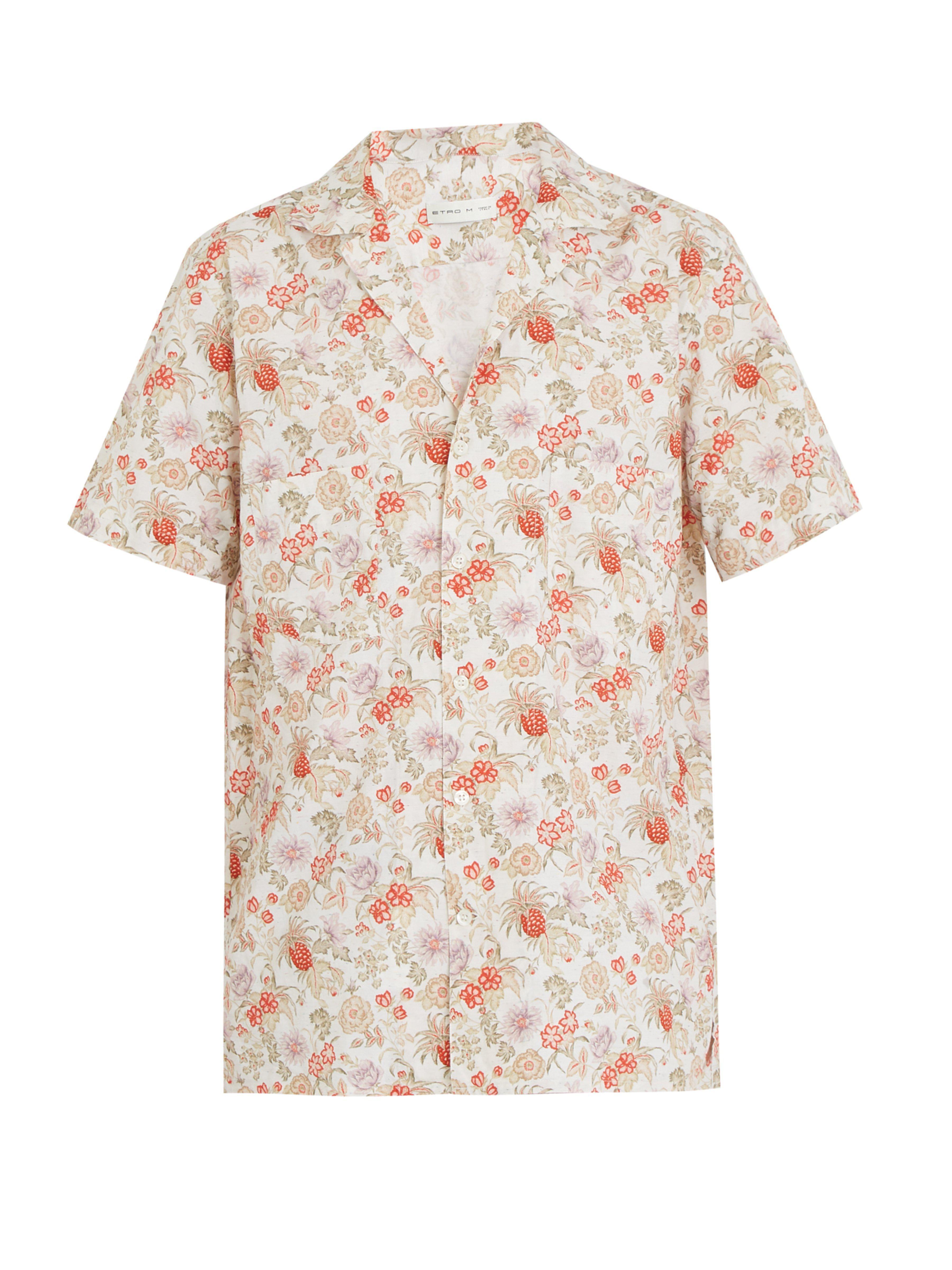 ... Chemise manches courtes en coton à imprimé fleuri for Men - Lyst.  Afficher en plein écran 5202959d9e4