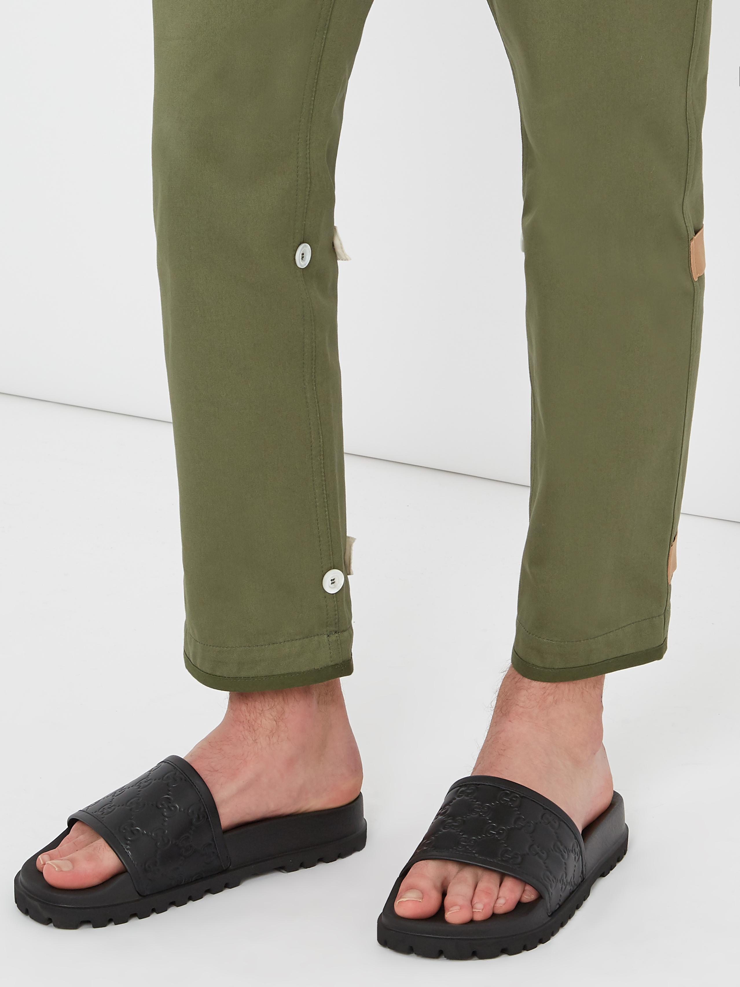 Gucci Pursuit Treck Leather Slides jXLKQD
