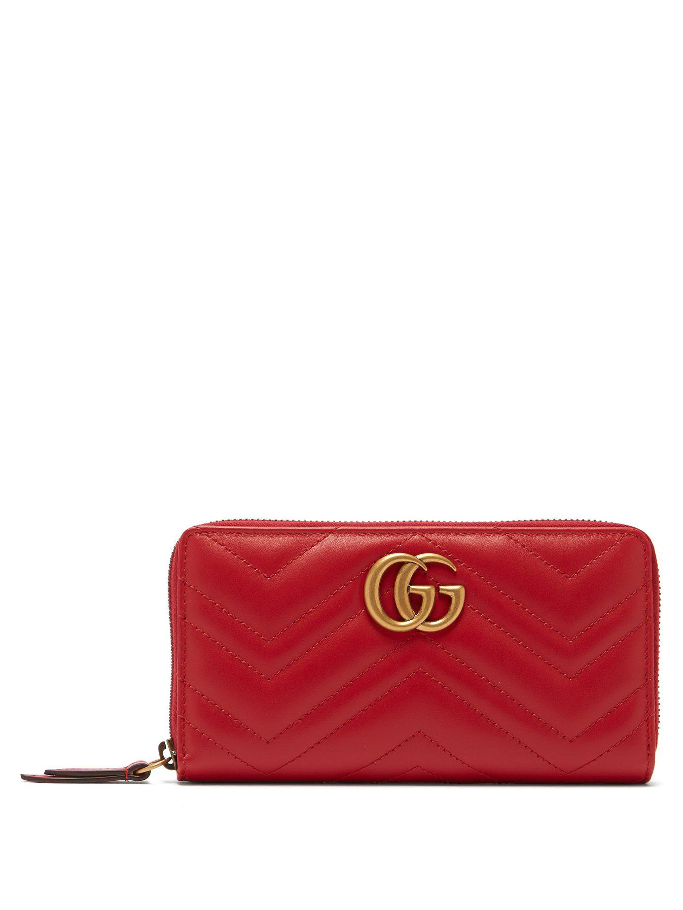 31e830af550fac Lyst - Gucci Gg Marmont Zip Around Wallet in Red - Save 31%