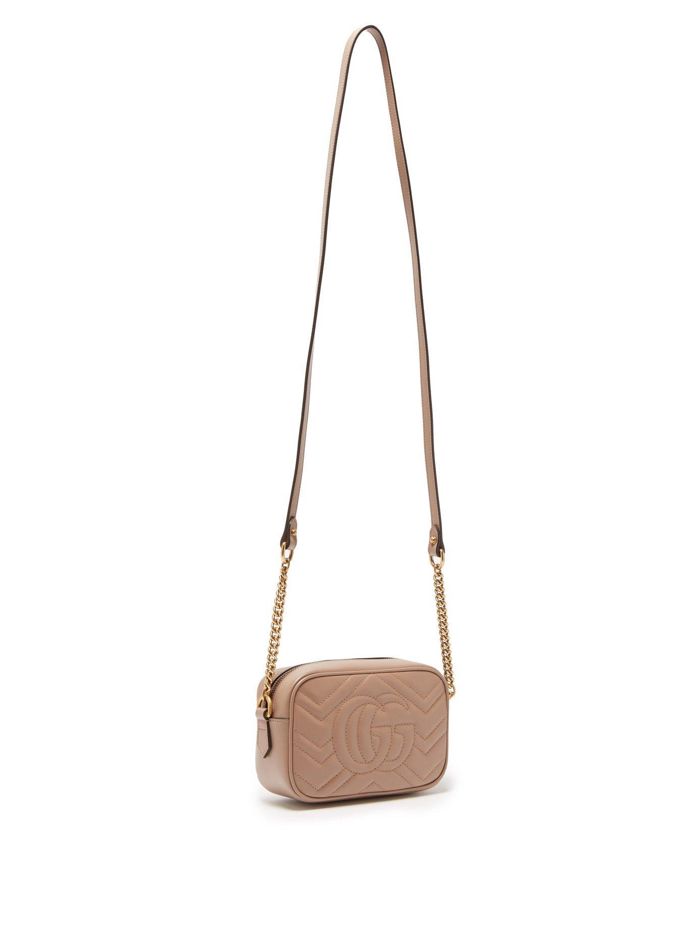 Gucci Marmont Gg Mini Round Leather 550154 Black Cross