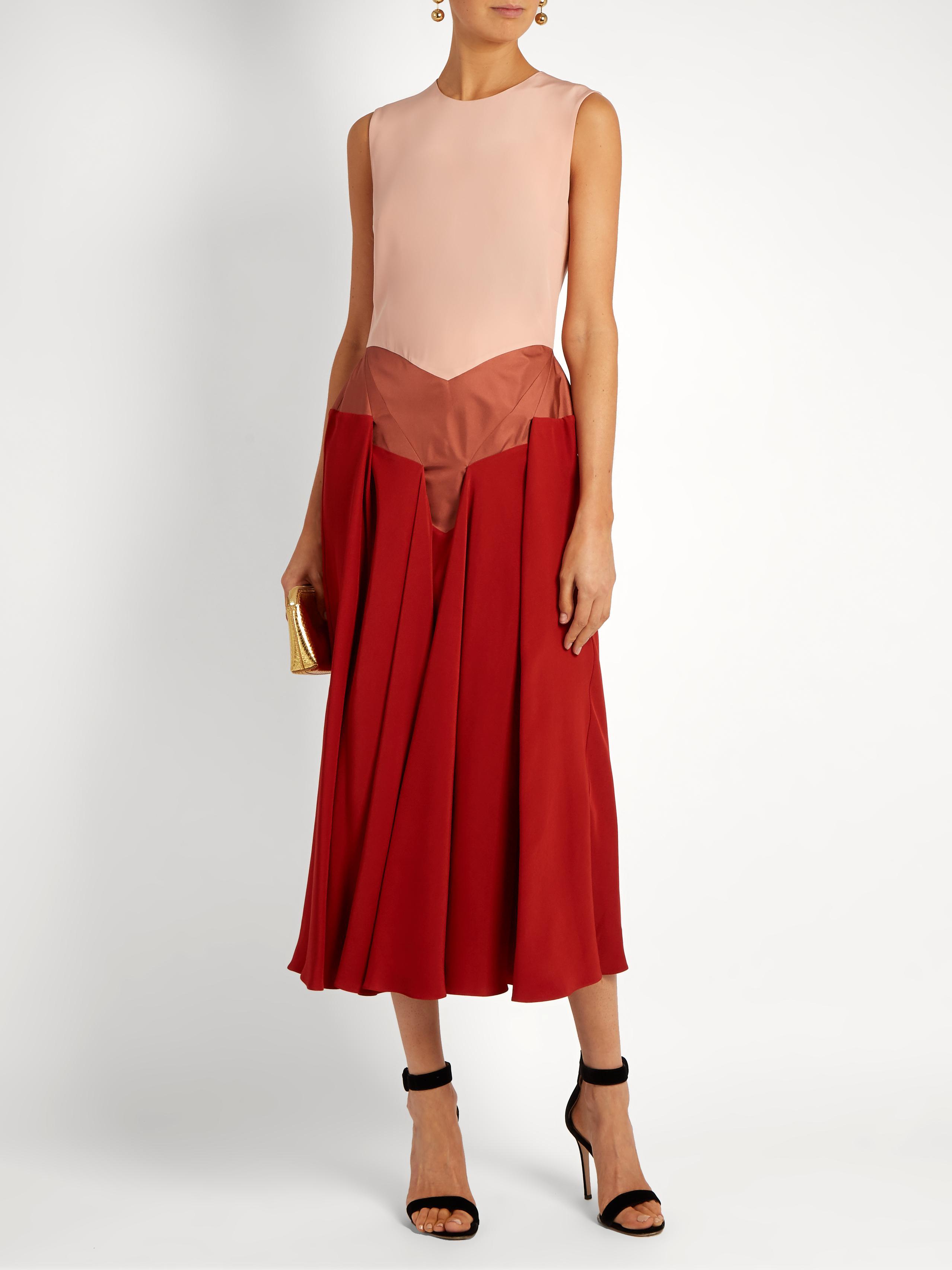 Hayato V-neck tri-colour dress Roksanda Ilincic Outlet 2018 New Finishline The Cheapest Sale Online nO2YIL