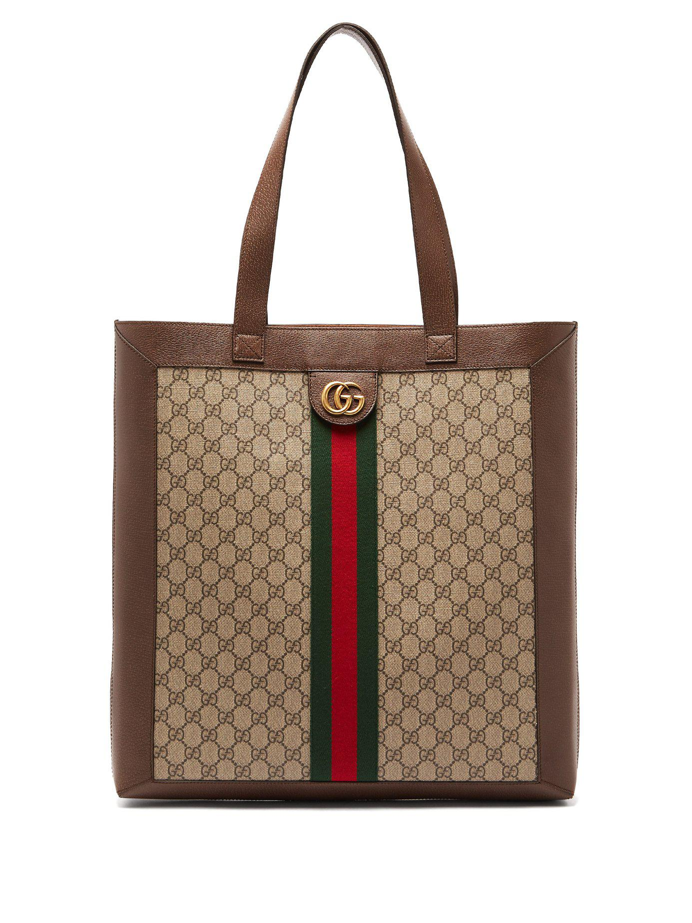 af0560c9e3a Lyst - Gucci Gg Supreme Leather And Canvas Tote in Natural for Men