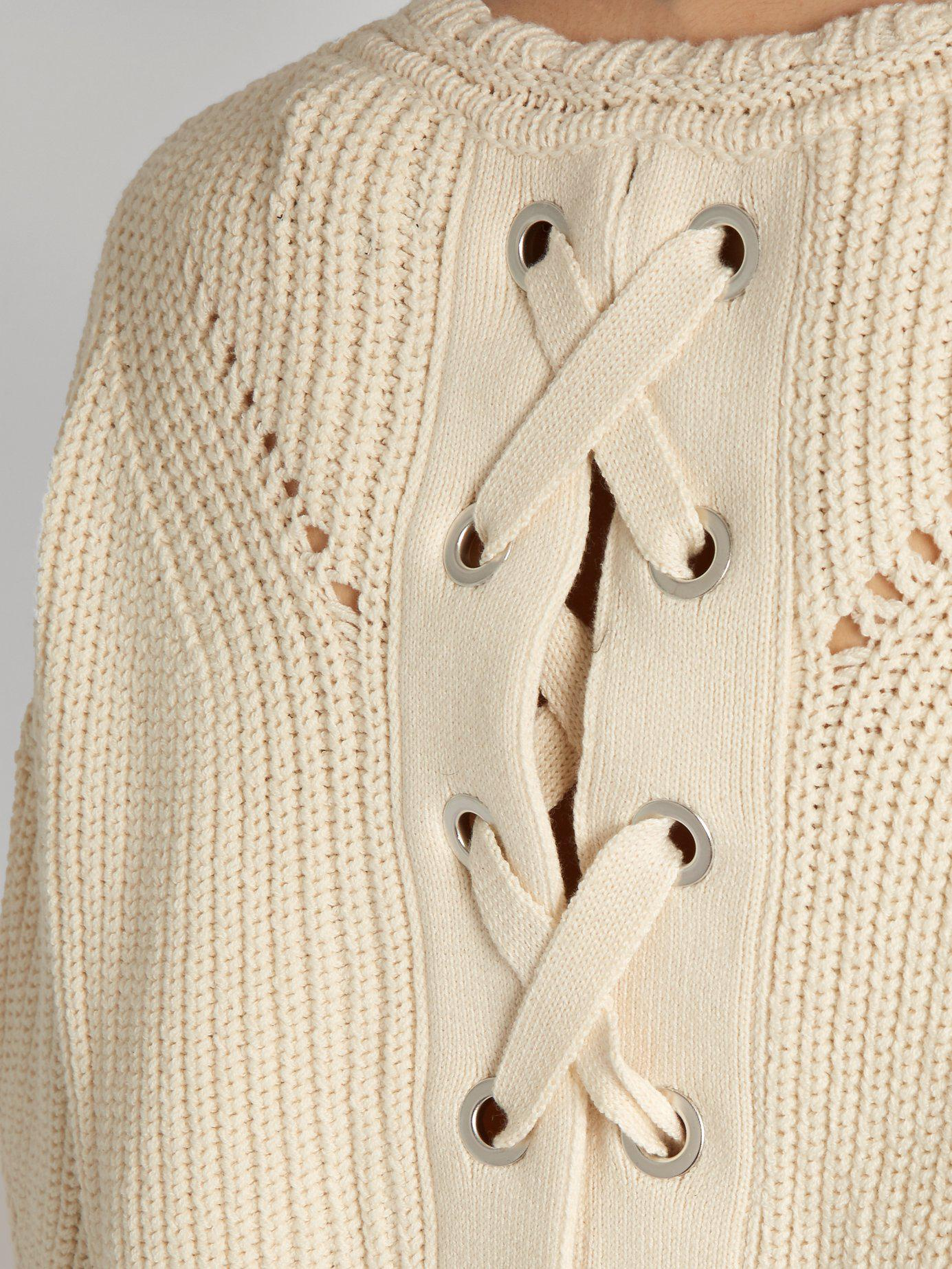 Lyst - Isabel Marant Grifin Lace-up Back Cotton-blend Sweater in Natural dfa161b1f