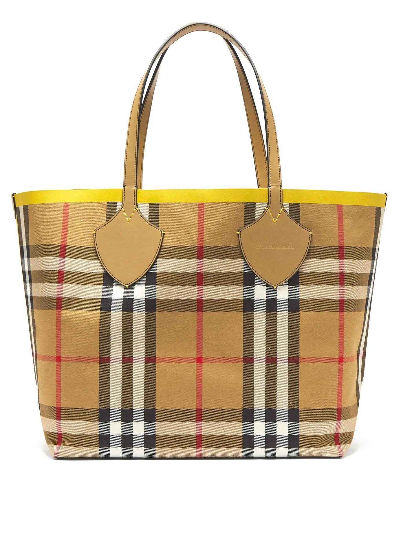 d00038bd7e4d Lyst - Burberry The Giant Reversible Cotton Tote in Yellow