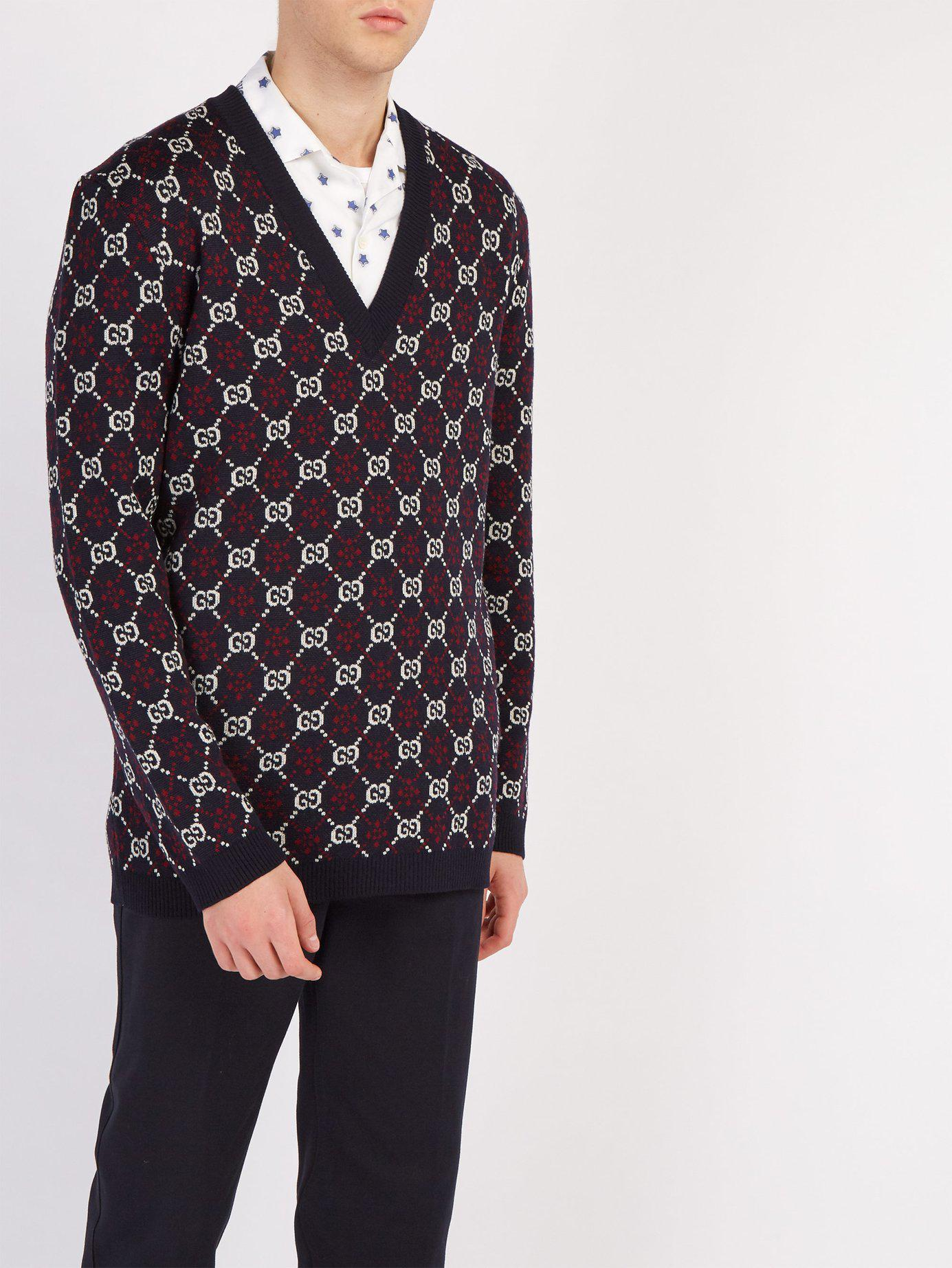 888e1688520 Lyst - Gucci Gg Supreme V Neck Wool Sweater in Blue for Men - Save 38%