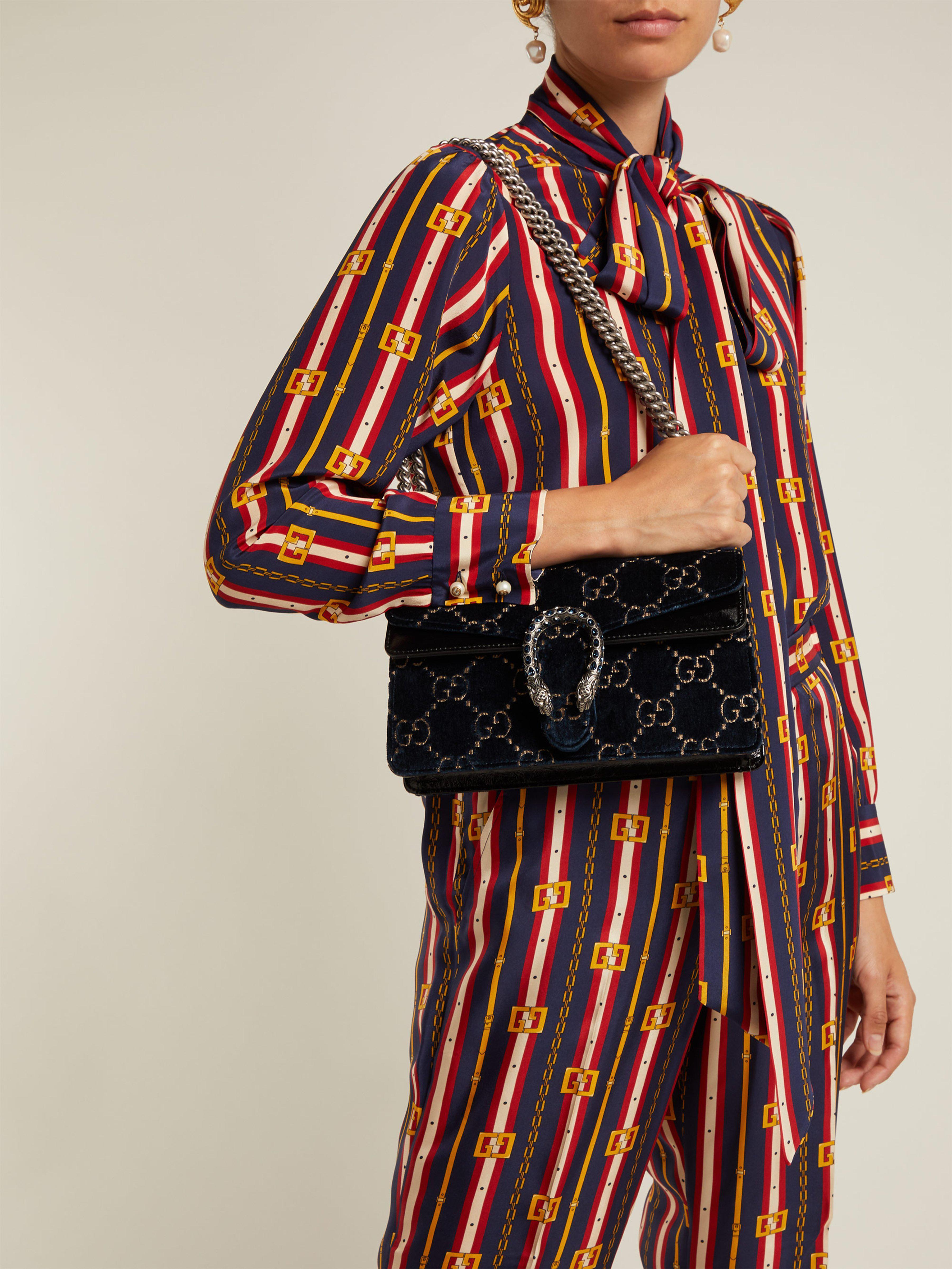 1319a9482ccd Gucci Dionysus Gg Velvet Shoulder Bag - Lyst