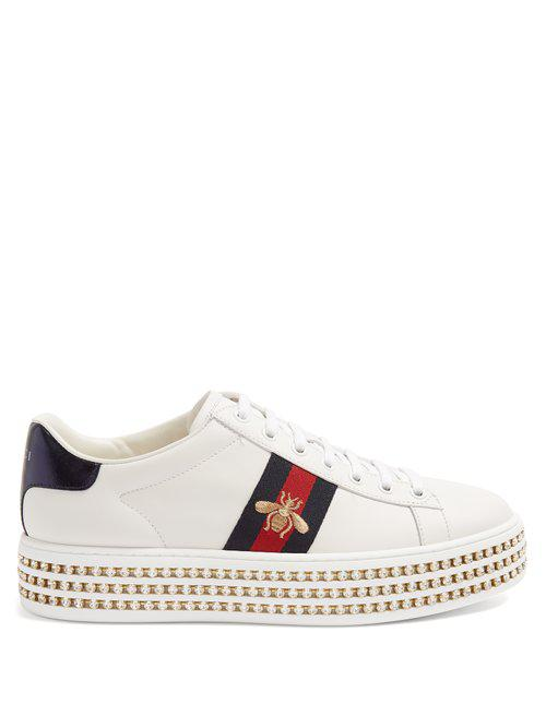 Gucci. Women's White New Ace Embellished Leather Platform Trainers