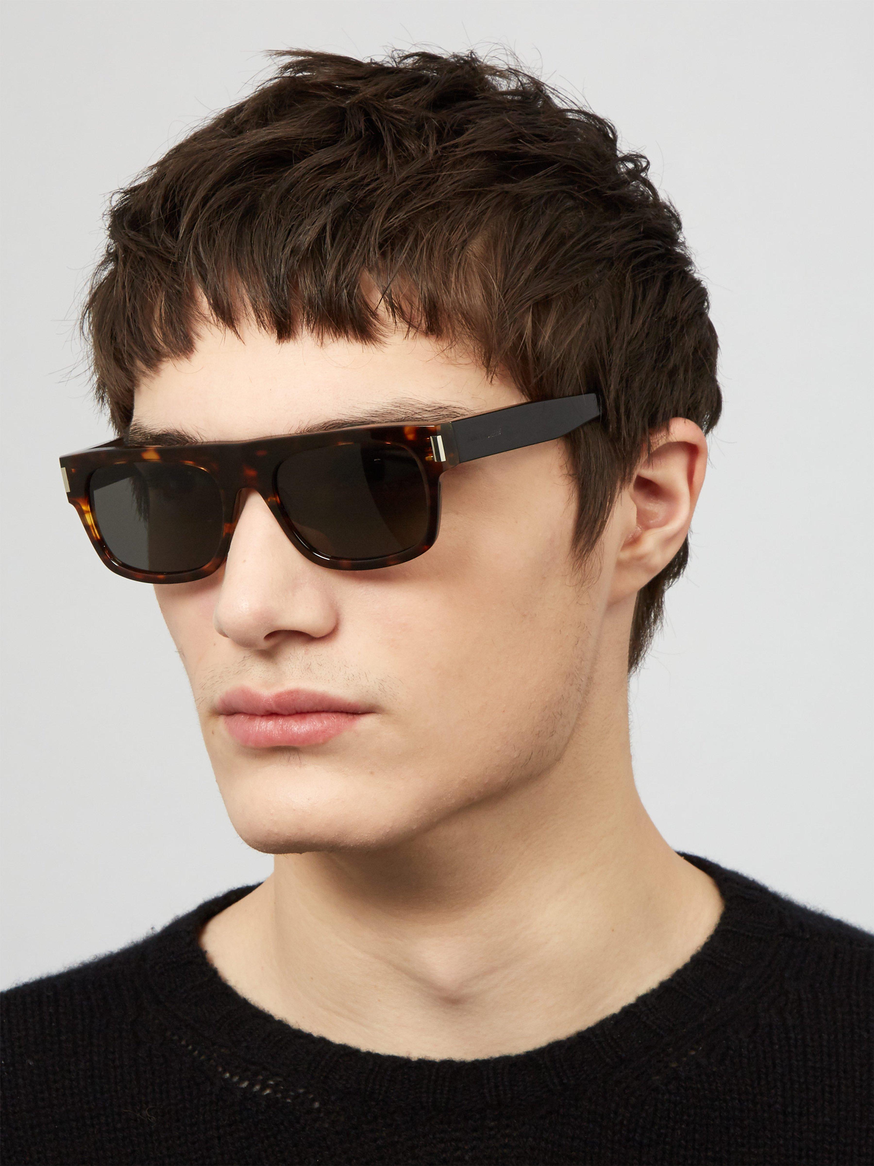 da910e6ffda Saint Laurent Rectangular Frame Tortoiseshell Sunglasses for Men - Lyst