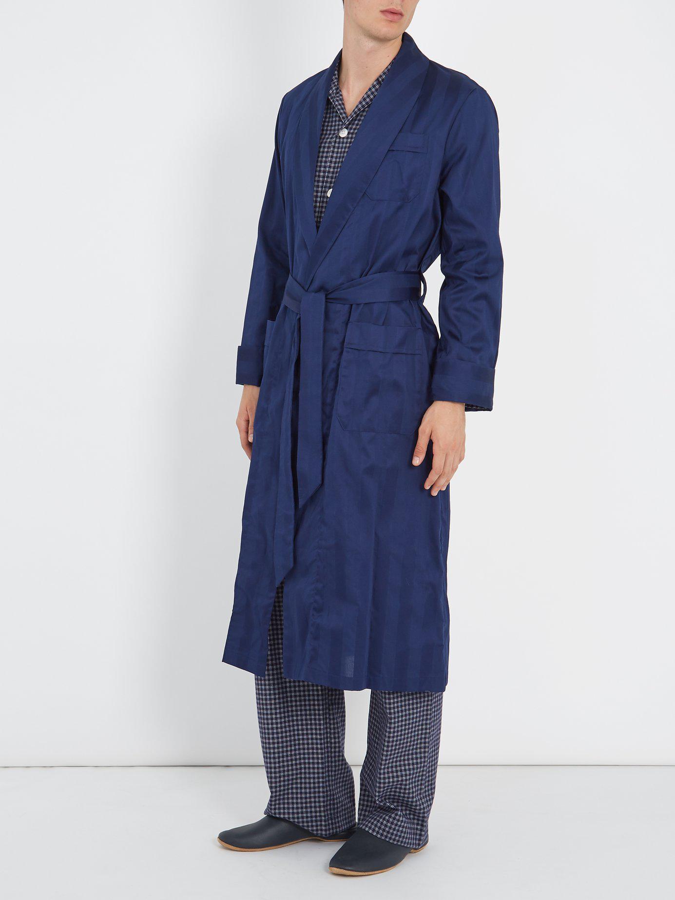 3120005f9f Lyst - Derek Rose Lingfield Cotton Striped Bathrobe in Blue for Men