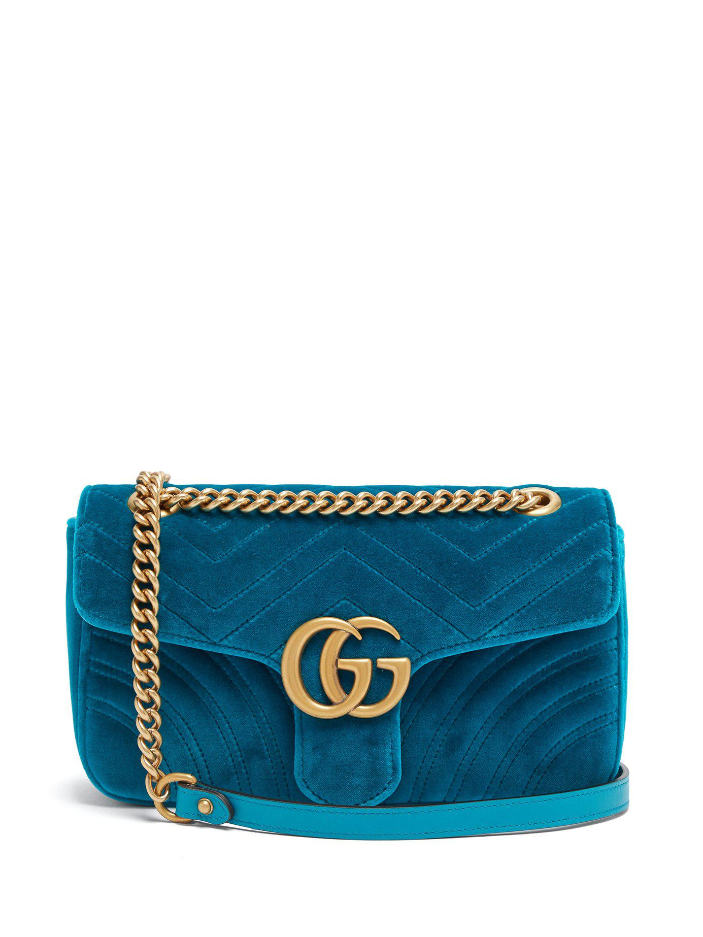 d0f0d585e5c Gucci Gg Marmont Small Quilted Velvet Shoulder Bag in Green - Lyst