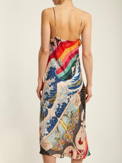 9139969a5e99f Chufy Trippin Printed Deep V-neck Satin Slip Dress - Lyst
