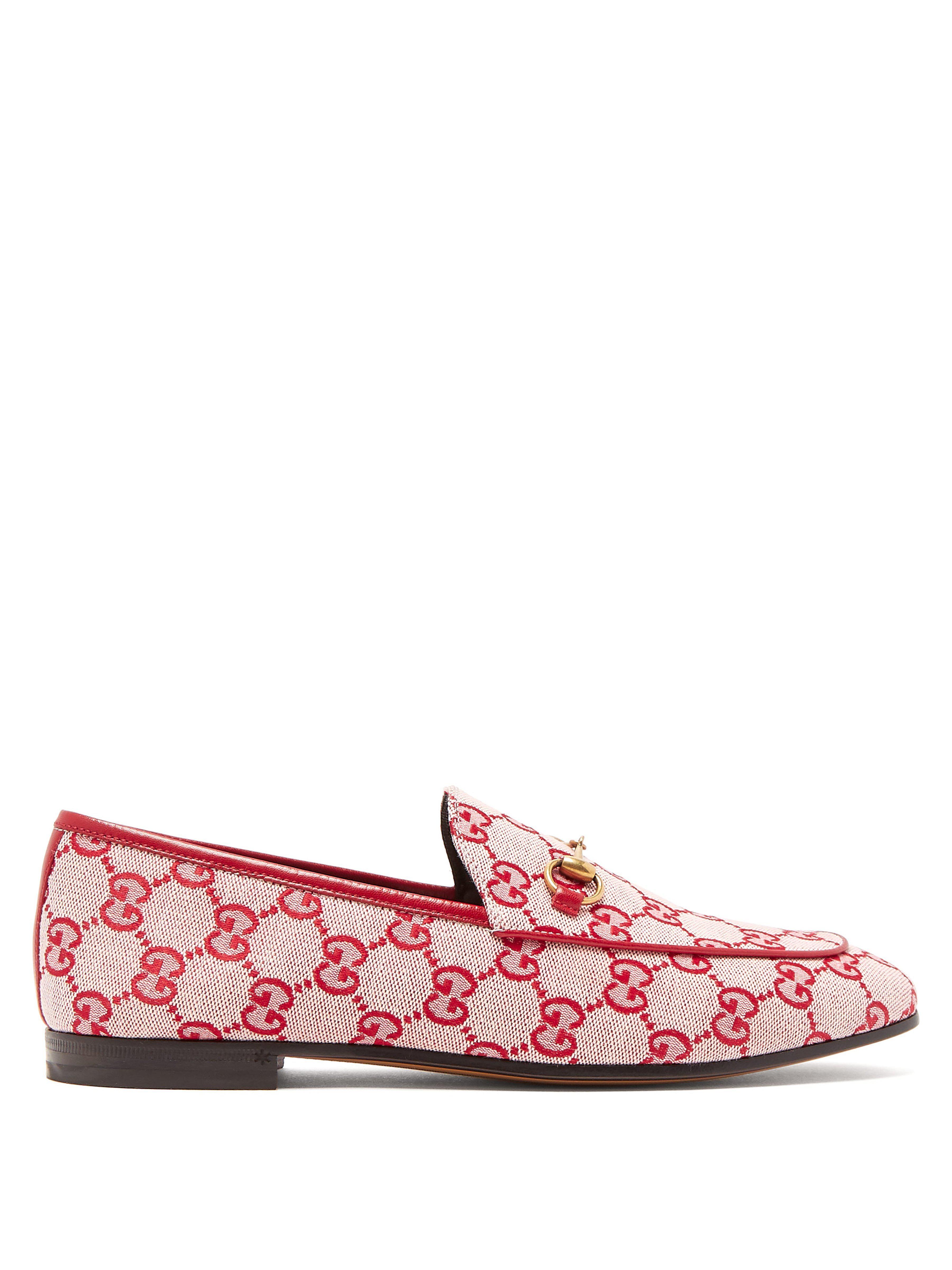 9d43155a3b1 Gucci. Women s Jordaan Logo Jacquard Loafers