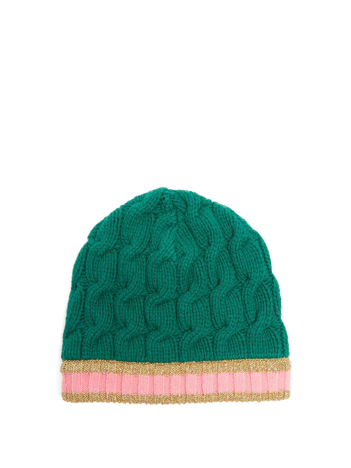 32bf8fdb Gucci Cable Knit Beanie Hat in Green - Lyst