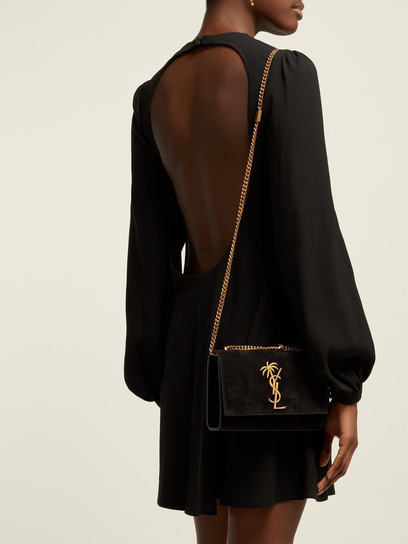 Saint Laurent - Black Small Kate Velvet Shoulder Bag - Lyst. View fullscreen 62d5386427