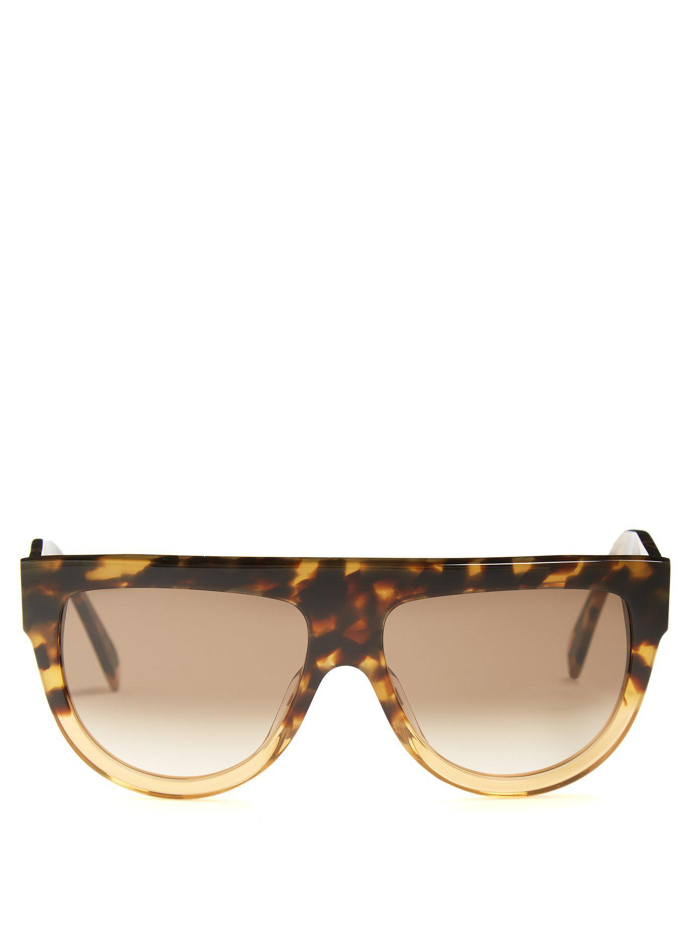 4549d6cd034 Lyst - Céline Shadow Aviator D Frame Acetate Sunglasses in Brown