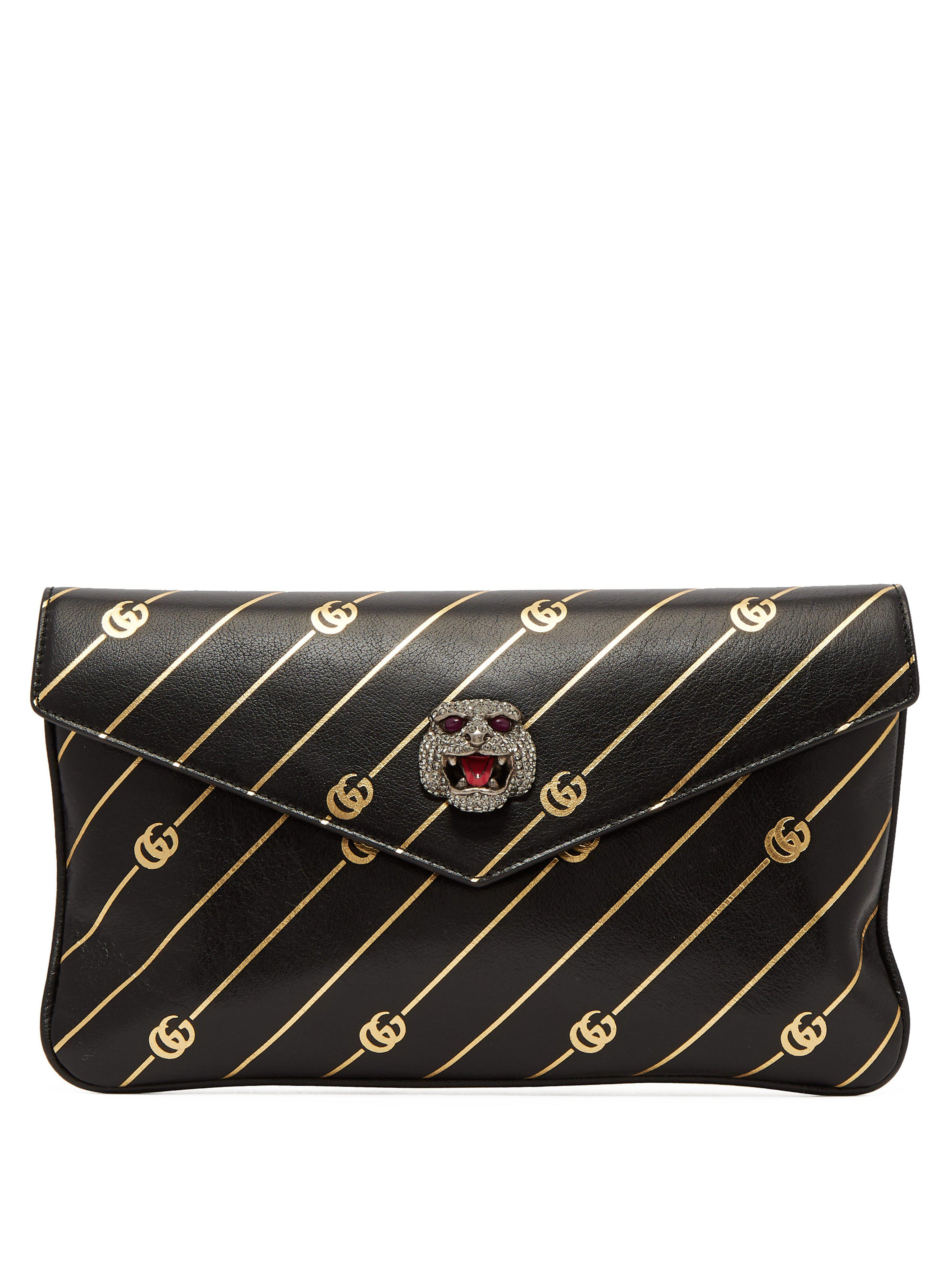 95ad28e234b Gucci Broadway GG-embossed Leather Clutch in Black - Lyst