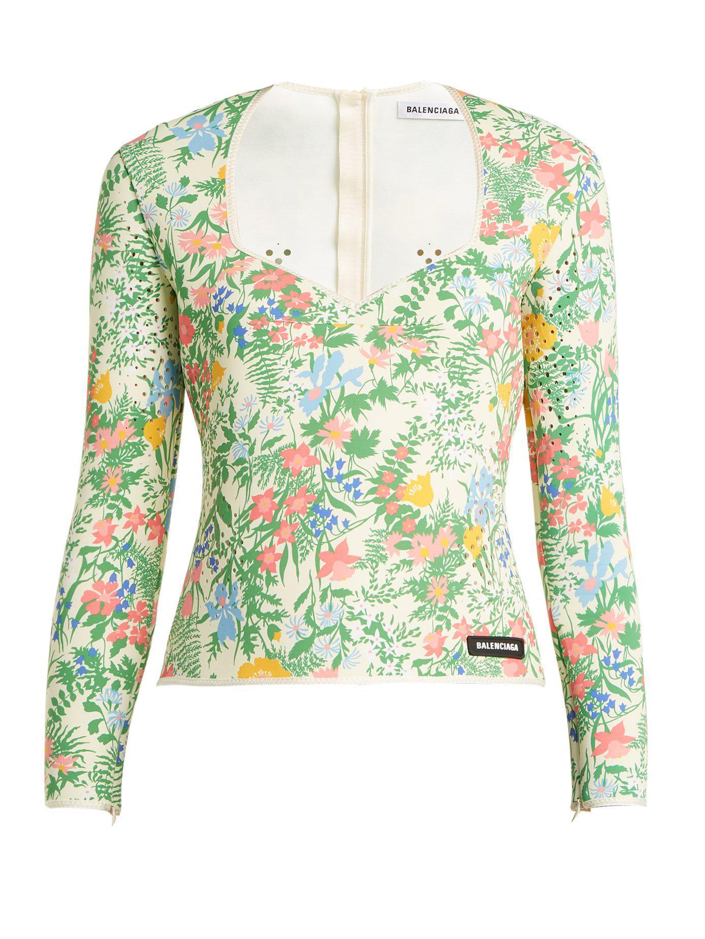 15a6091132af5 Balenciaga - Multicolor Floral Print Neoprene Top - Lyst. View fullscreen