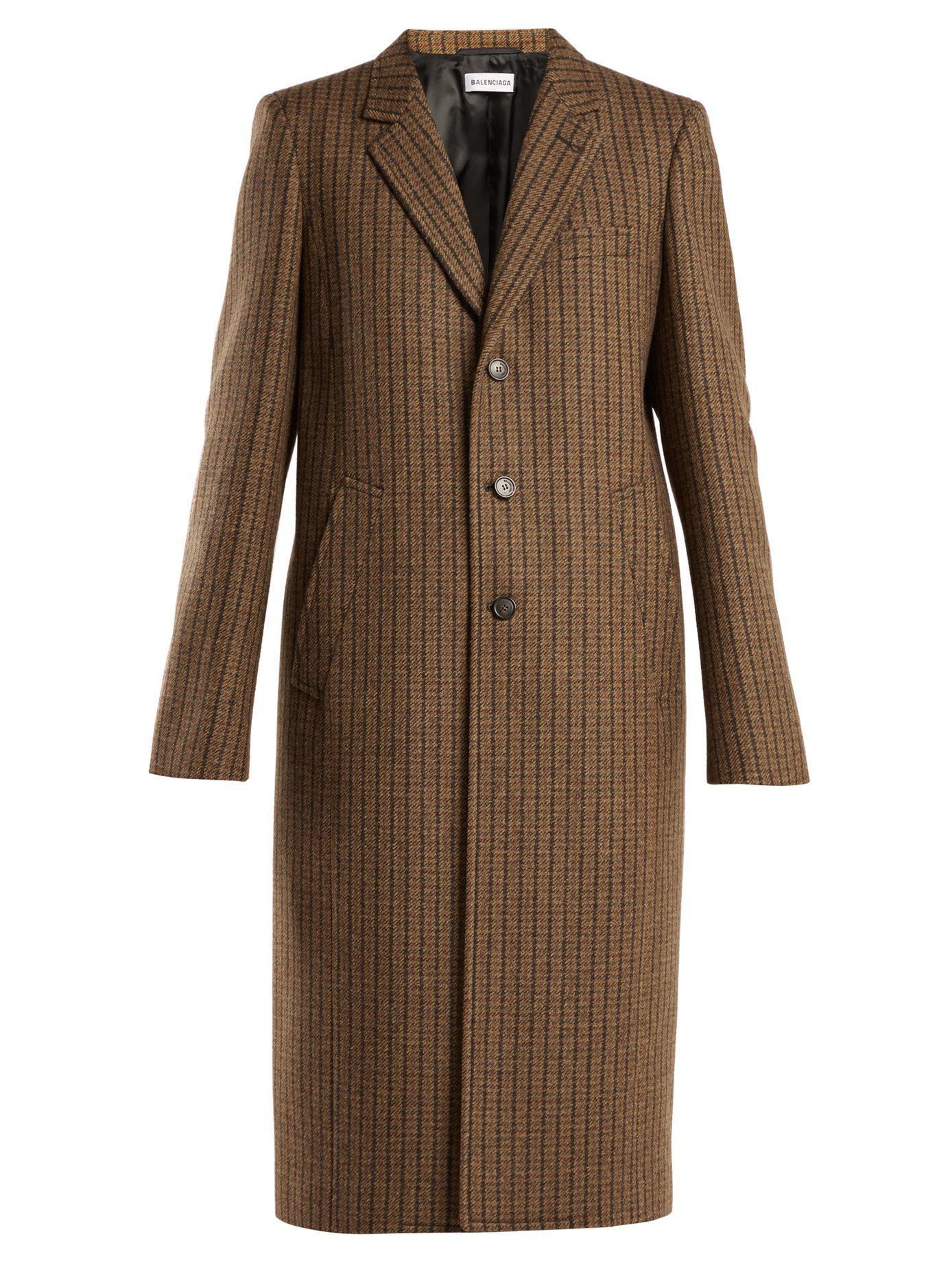 1ffde50bea0f Lyst - Balenciaga Single Breasted Wool Blend Coat in Brown