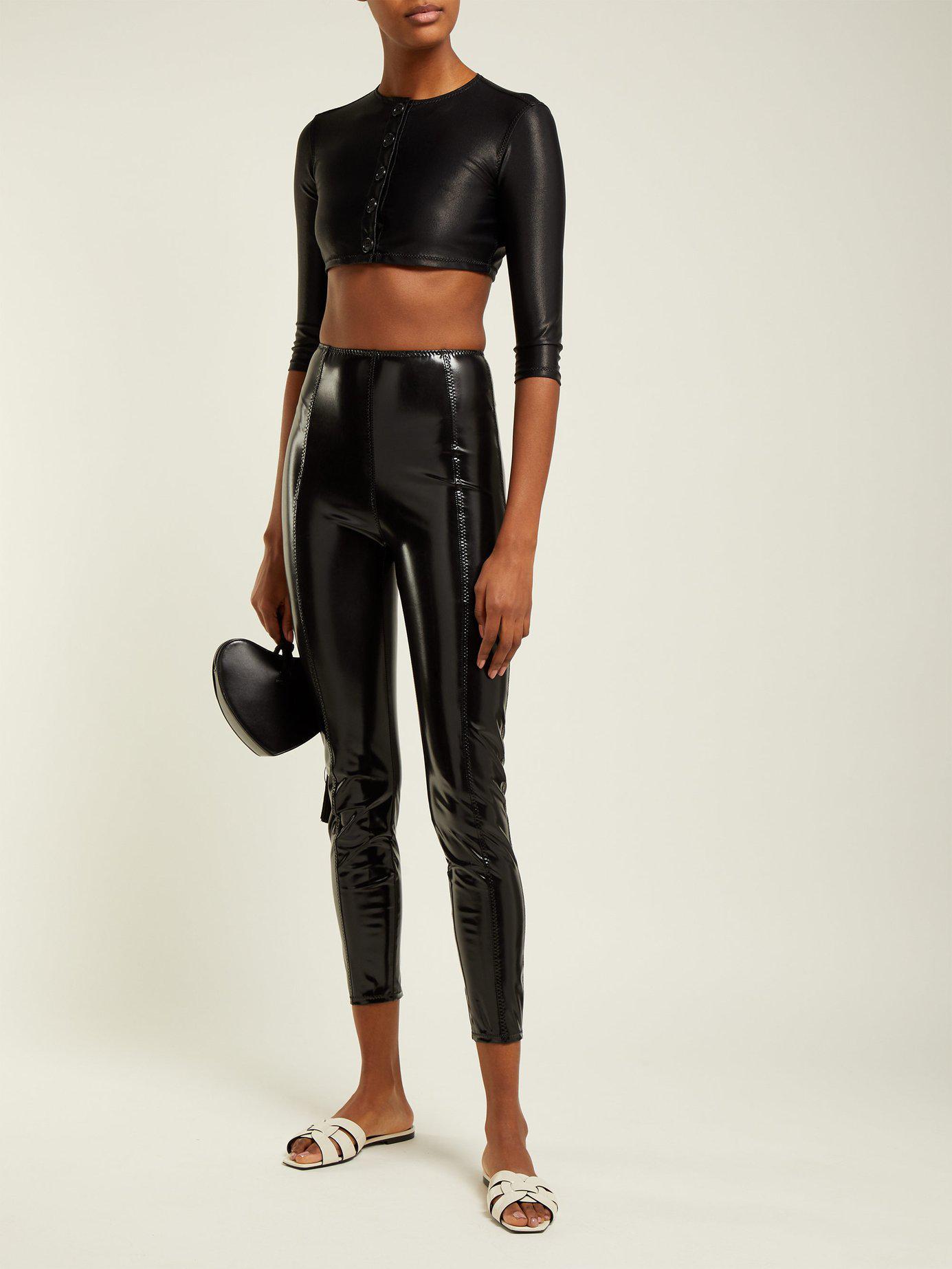 fd5bd61dbee00 Lisa Marie Fernandez - Black Karlie Stretch-pvc Leggings - Lyst. View  fullscreen