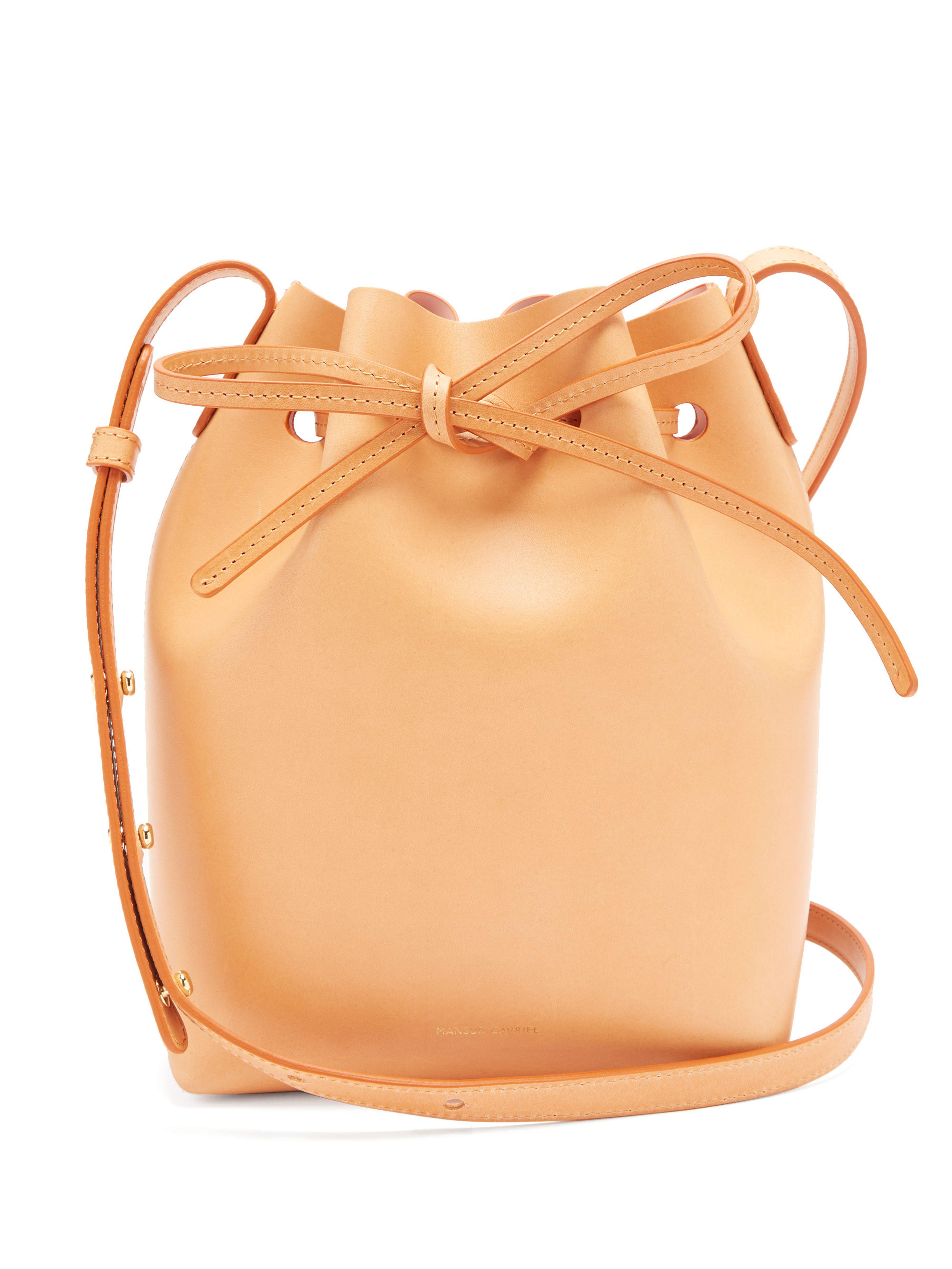 7520d2d04681 Mansur Gavriel Pink Lined Mini Leather Bucket Bag in Pink - Lyst