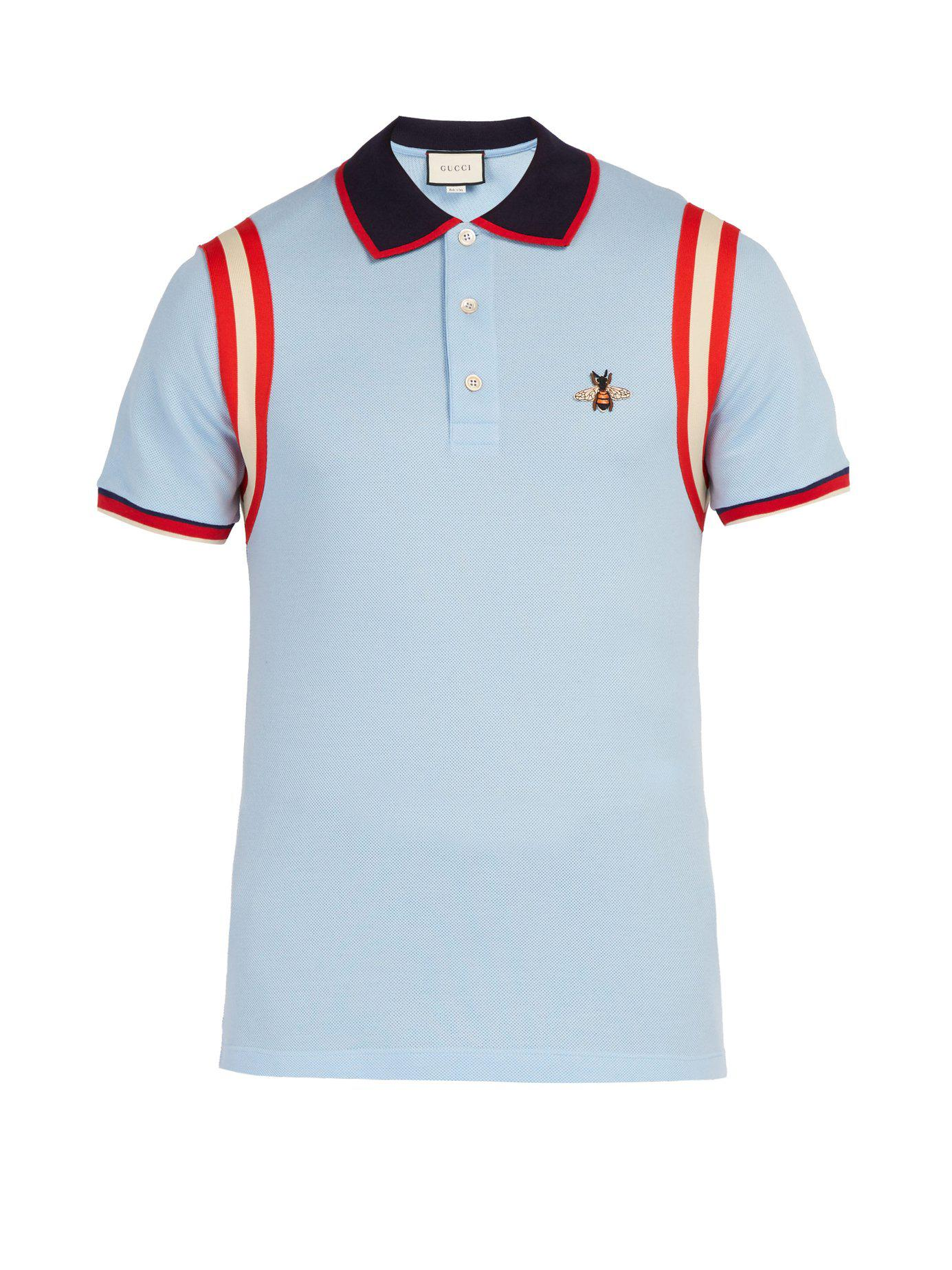 b9ee7352f Gucci - Blue Bee Embroidered Cotton Piqué Polo Shirt for Men - Lyst. View  fullscreen