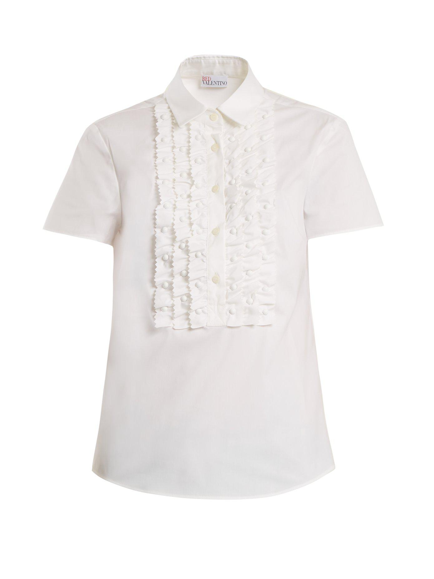 Point-collar frilled-bib cotton-blend shirt Red Valentino Low Price Low Shipping Fee Buy Cheap Price z9Xs3Y51WB