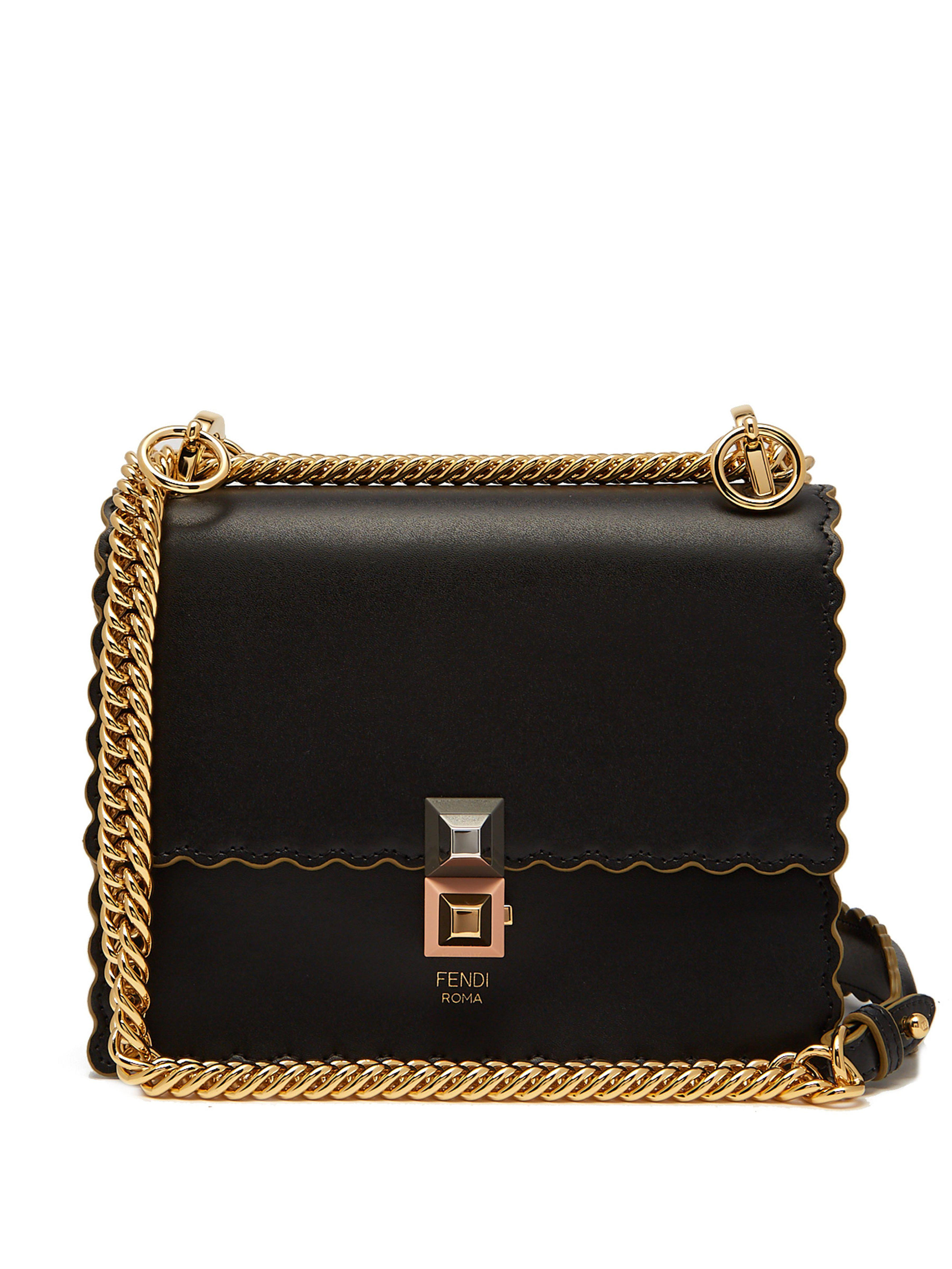 675bac31f5d0 Fendi Kan I Small Leather Cross Body Bag in Black - Lyst