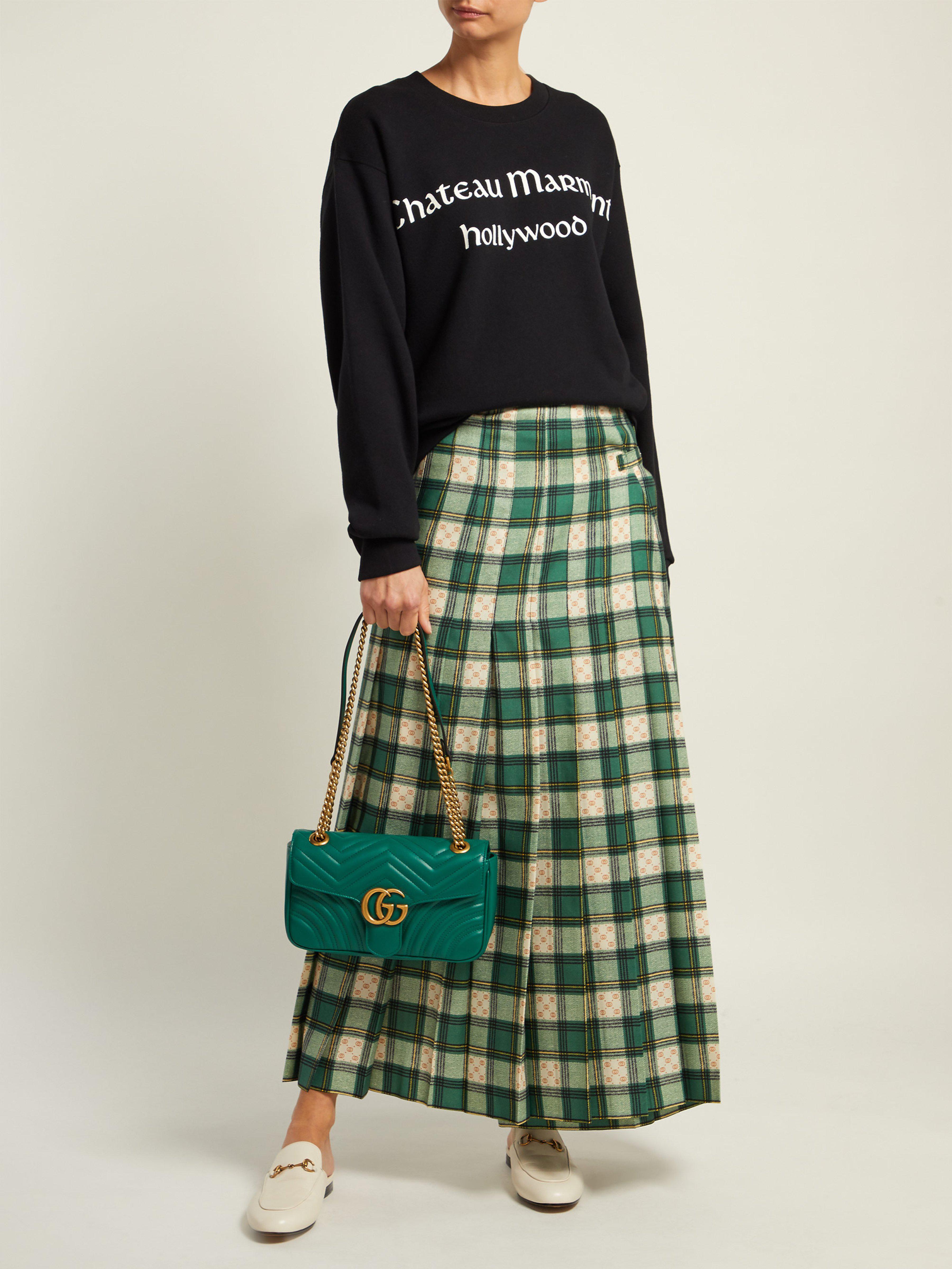 58de111ba27 Gucci GG Marmont Matelassé Mini Bag in Green - Save 12% - Lyst