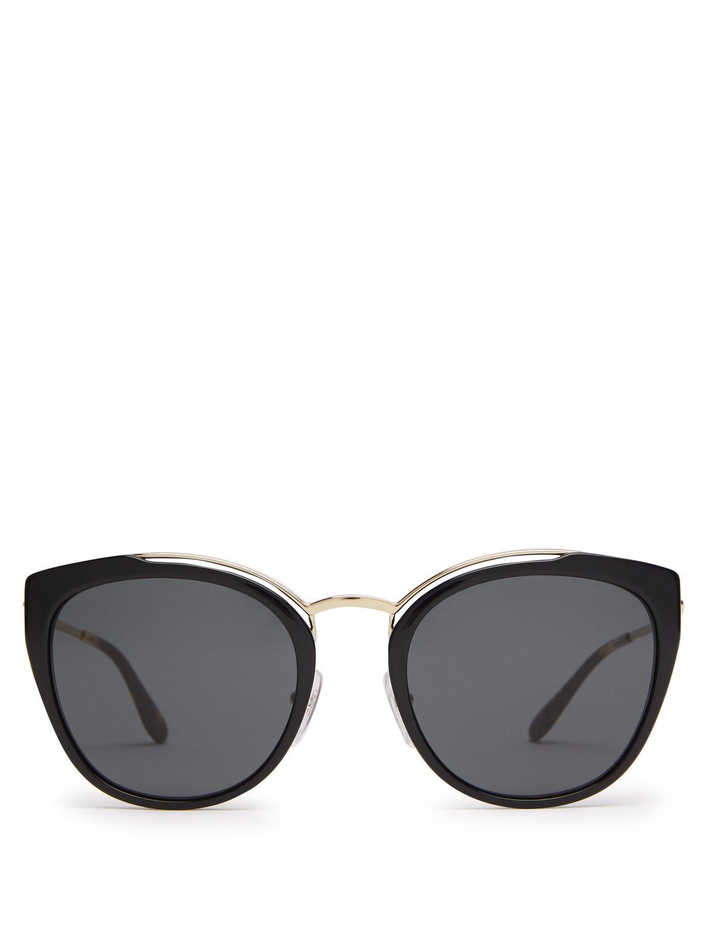 bee635f81f58a Lyst - Prada Cat Eye Acetate And Metal Sunglasses in Black