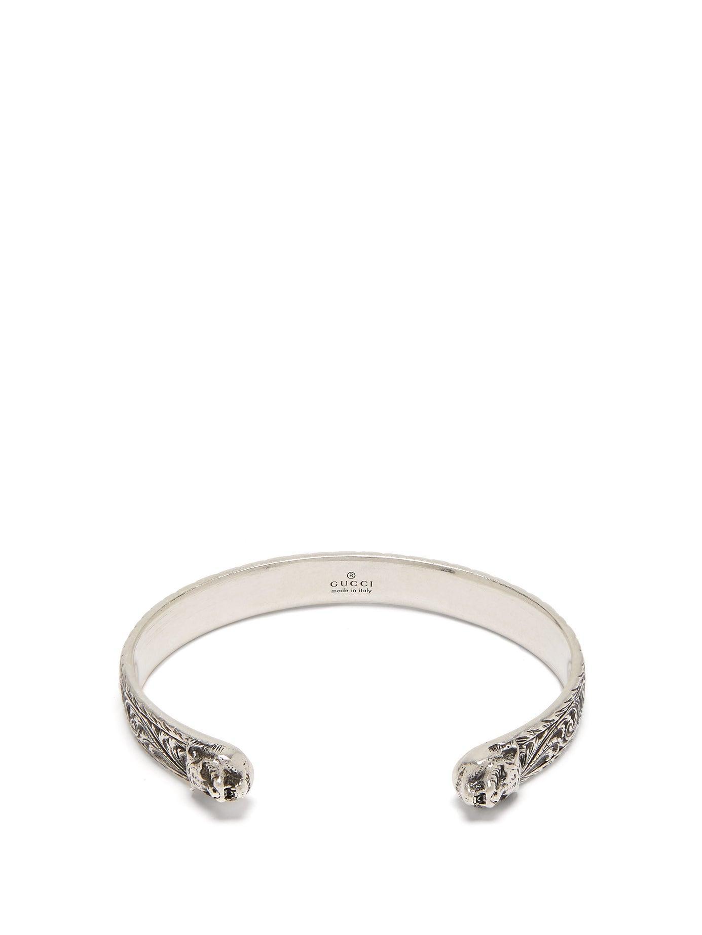 d7ef1f956 Gucci Tiger Head Sterling Silver Cuff Bracelet in Metallic for Men ...