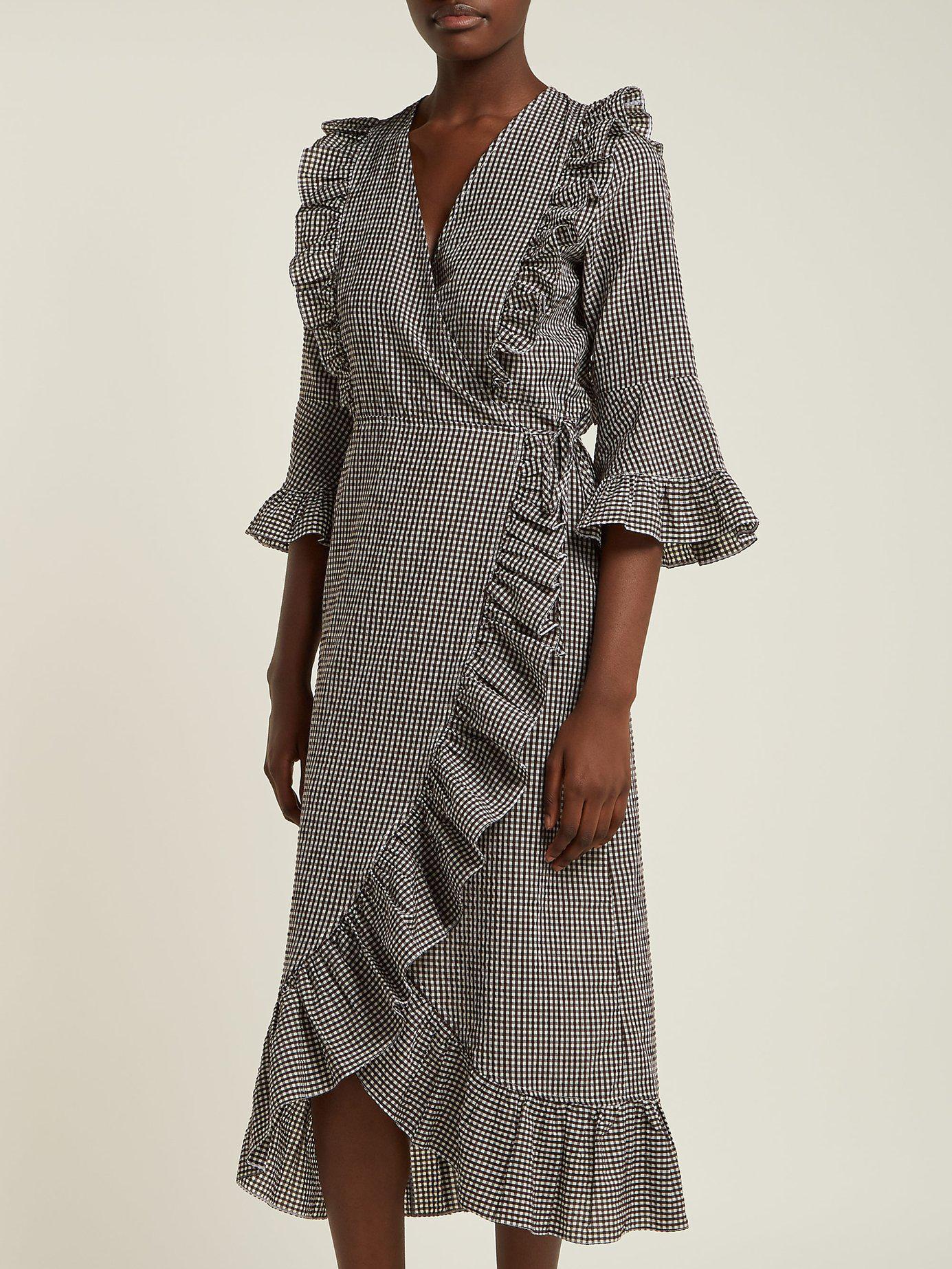 11a90683 Ganni Charron Gingham Cotton-blend Wrap Dress in Brown - Lyst