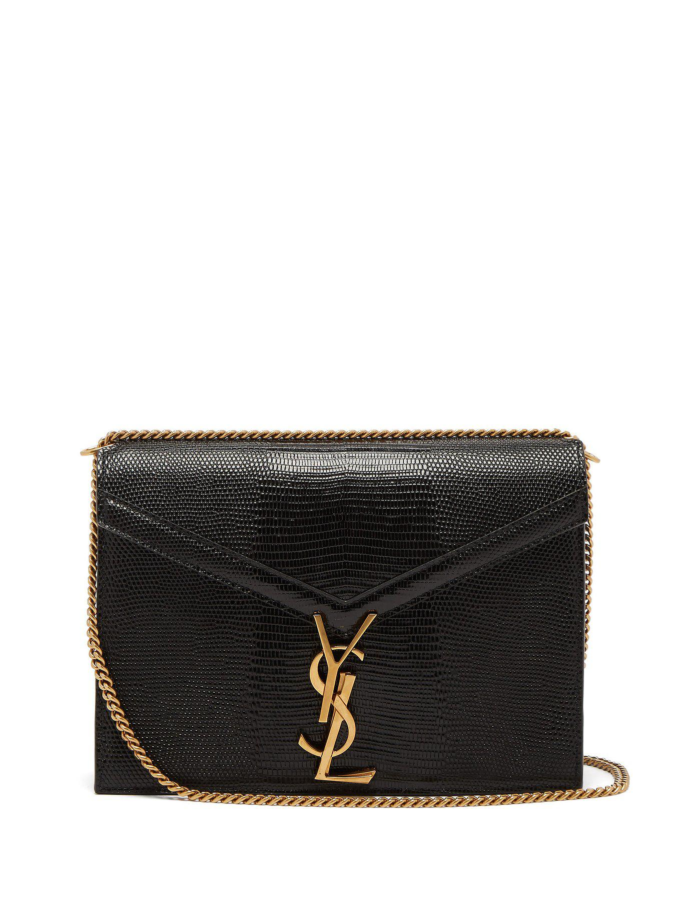 f155a902ef Lyst - Saint Laurent Cassandra Lizard Effect Cross Body Bag in Black