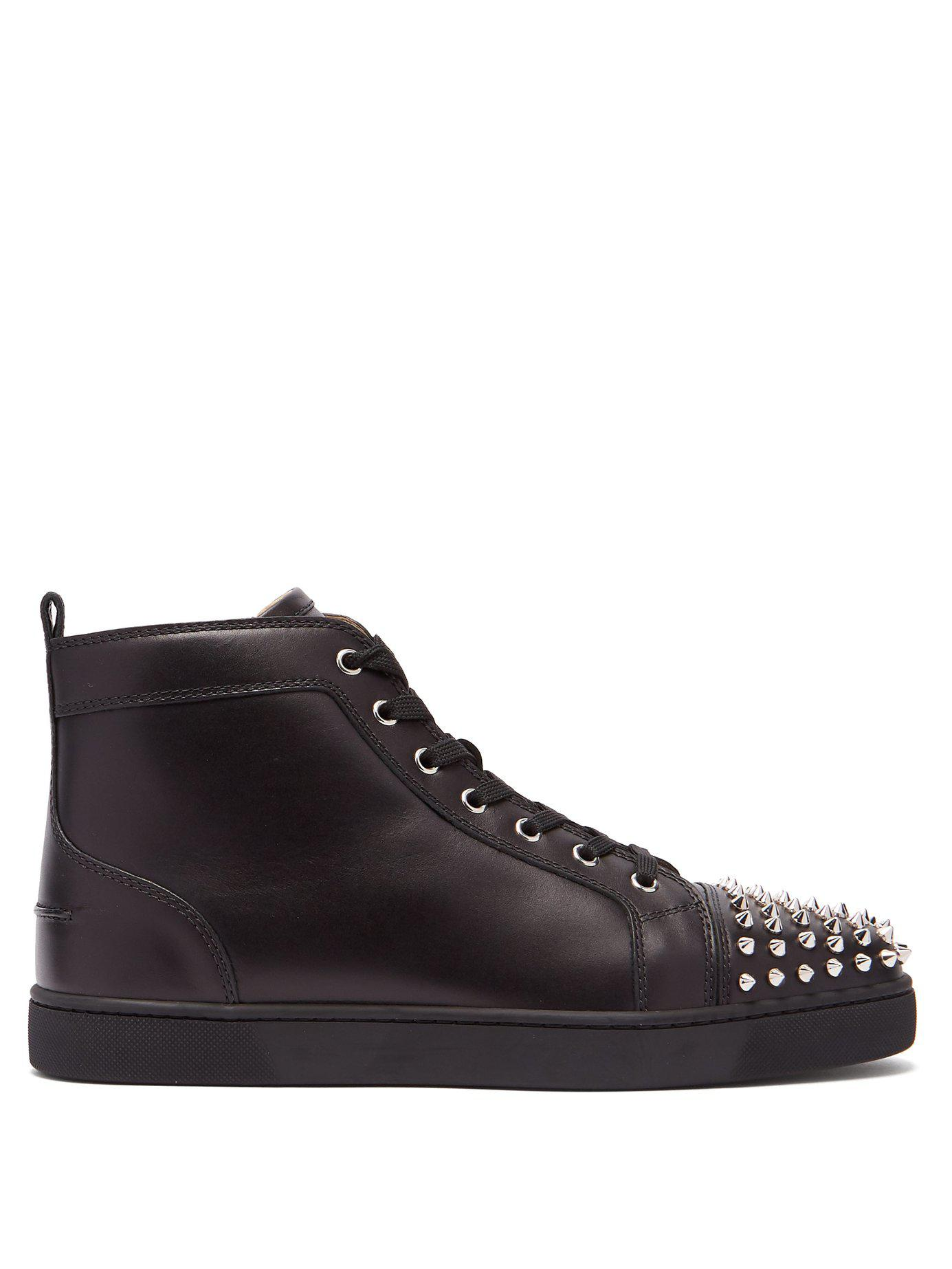b2a34bf1f9f9 Lyst - Christian Louboutin Louis Spike Embellished High Top Trainers ...
