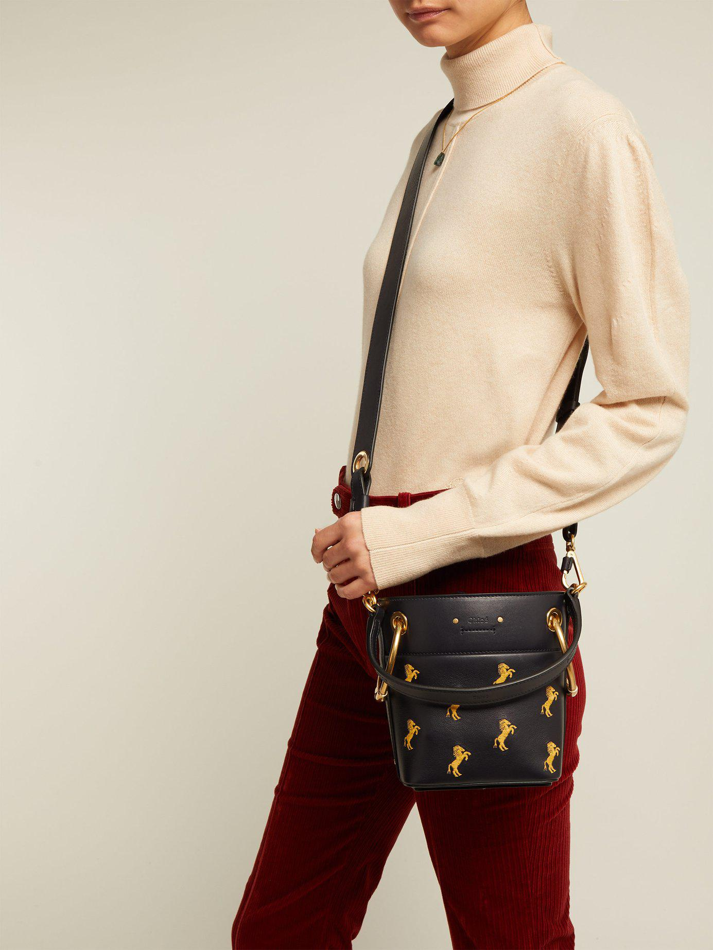 1ea3331422c2 Lyst - Chloé Roy Little Horse Embroidered Leather Bucket Bag