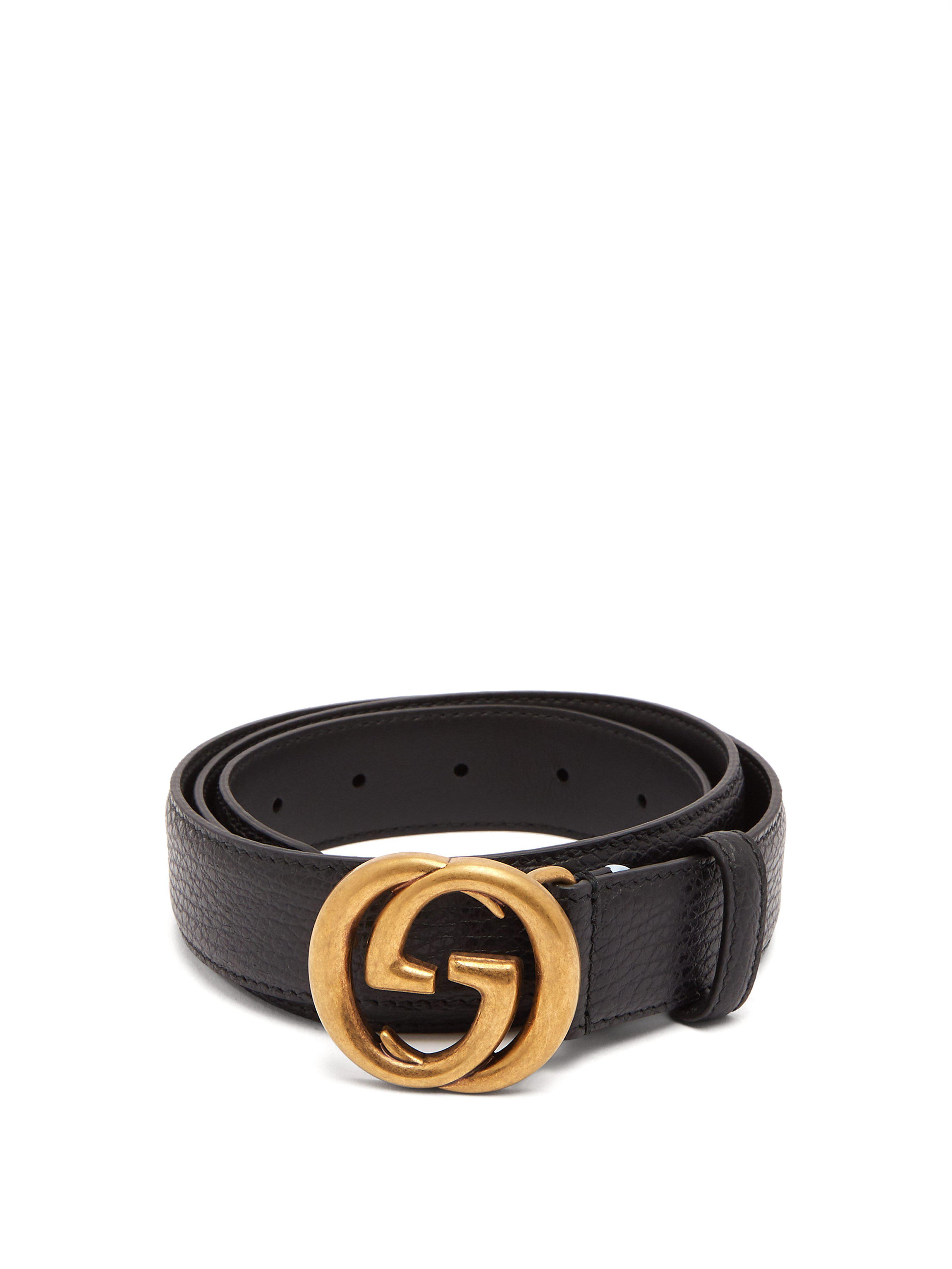Lyst - Ceinture en cuir GG Gucci pour homme en coloris Noir ... 26ee42a6b40