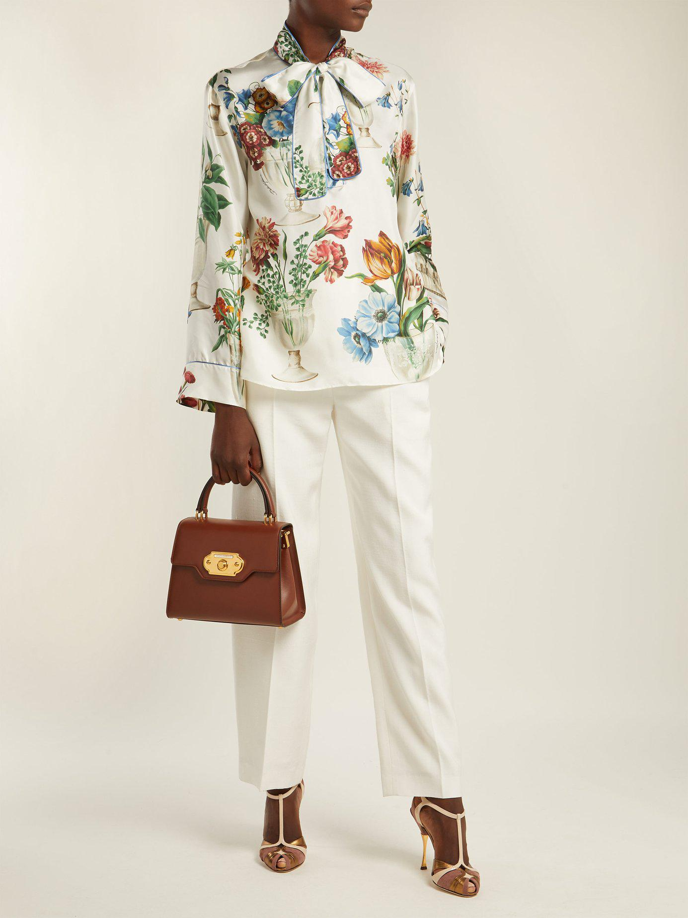 8bb0c16d84e9 Dolce   Gabbana - Multicolor Floral And Vase Print Silk Blouse - Lyst. View  fullscreen