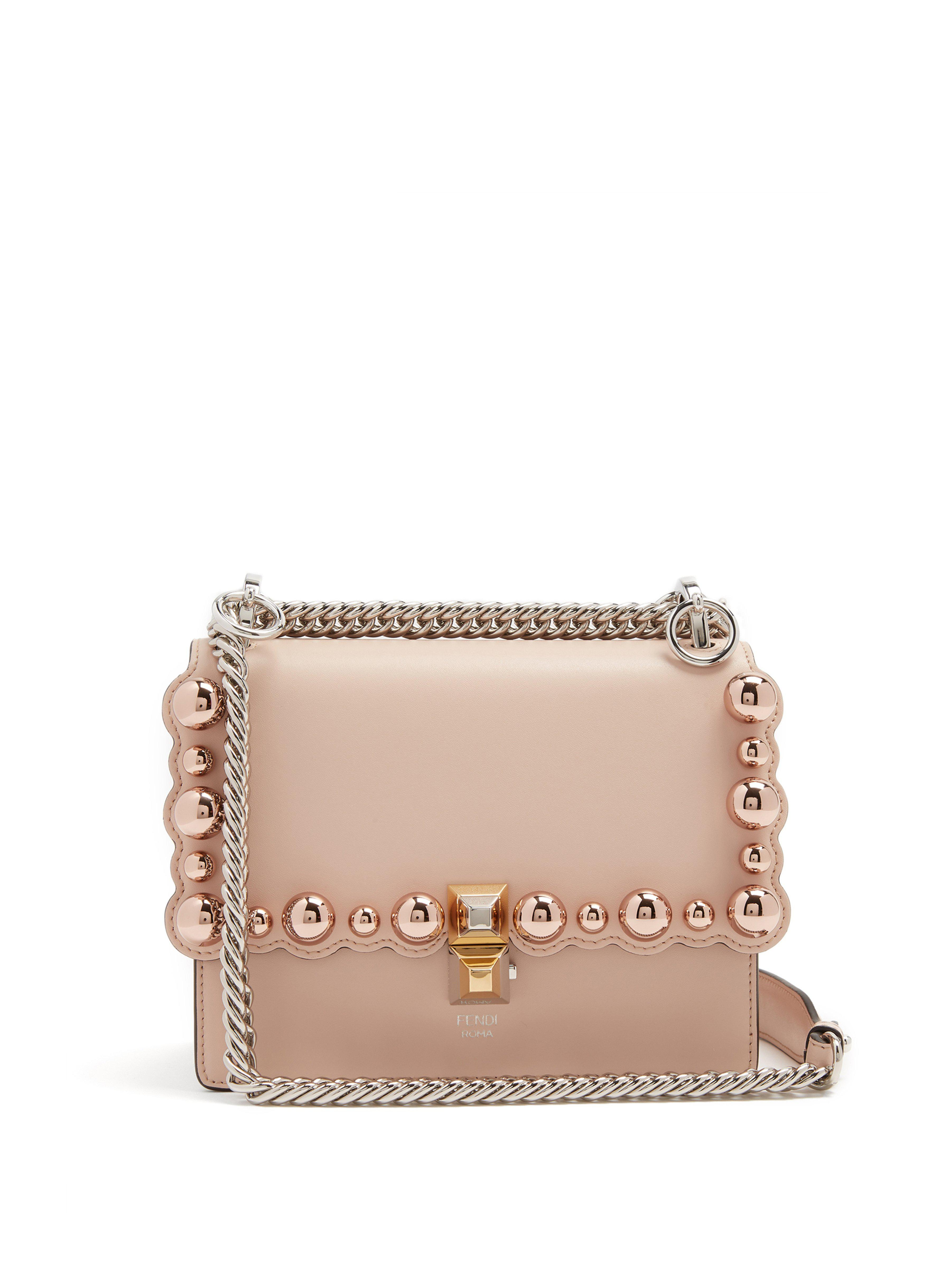 Fendi Kan I Small Embellished Leather Cross Body Bag in Pink - Lyst 5c06924491273